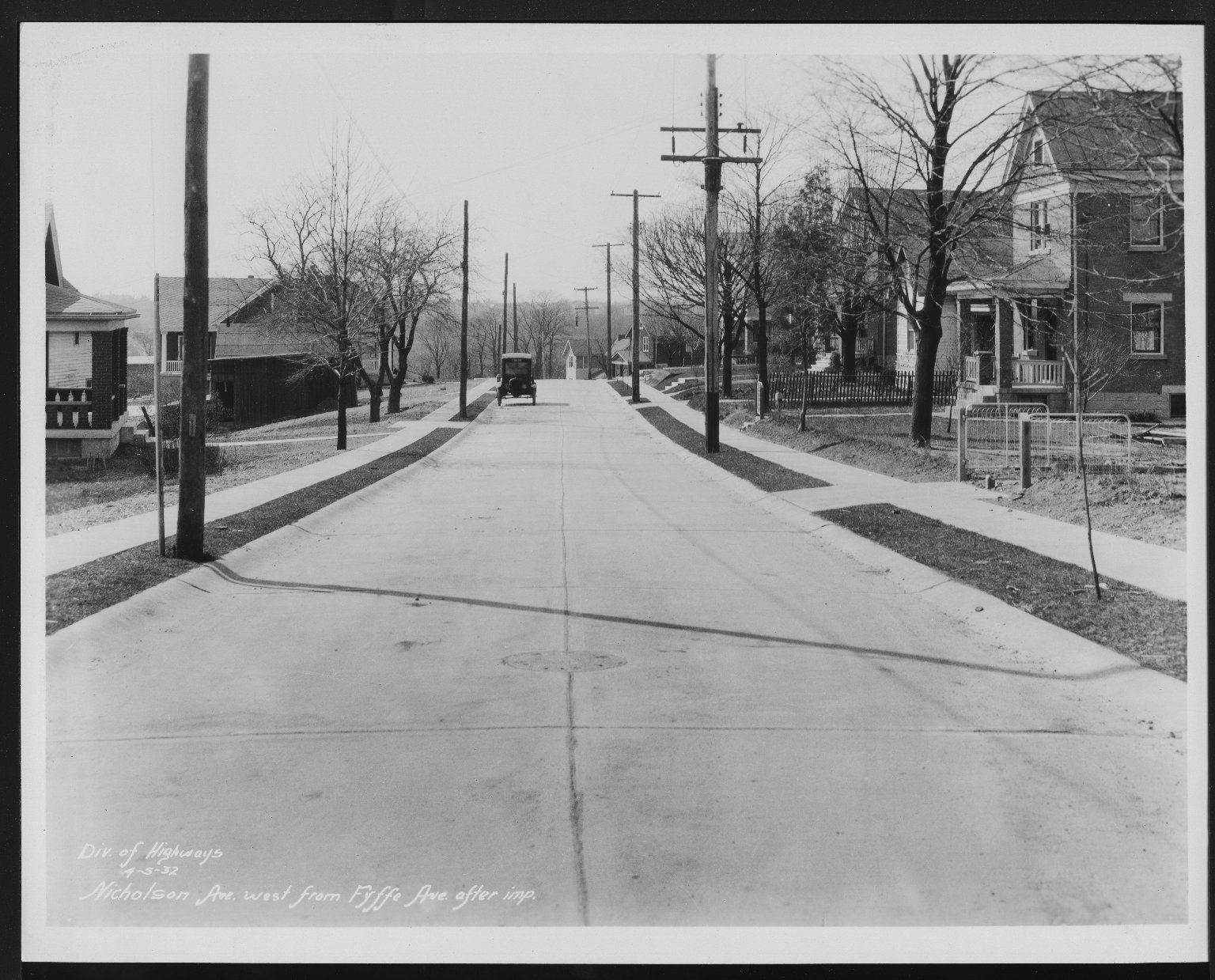 Street Improvement Photographs -- Box 27, Folder 20 (Nicholson Avenue) -- print, 1932-04-05