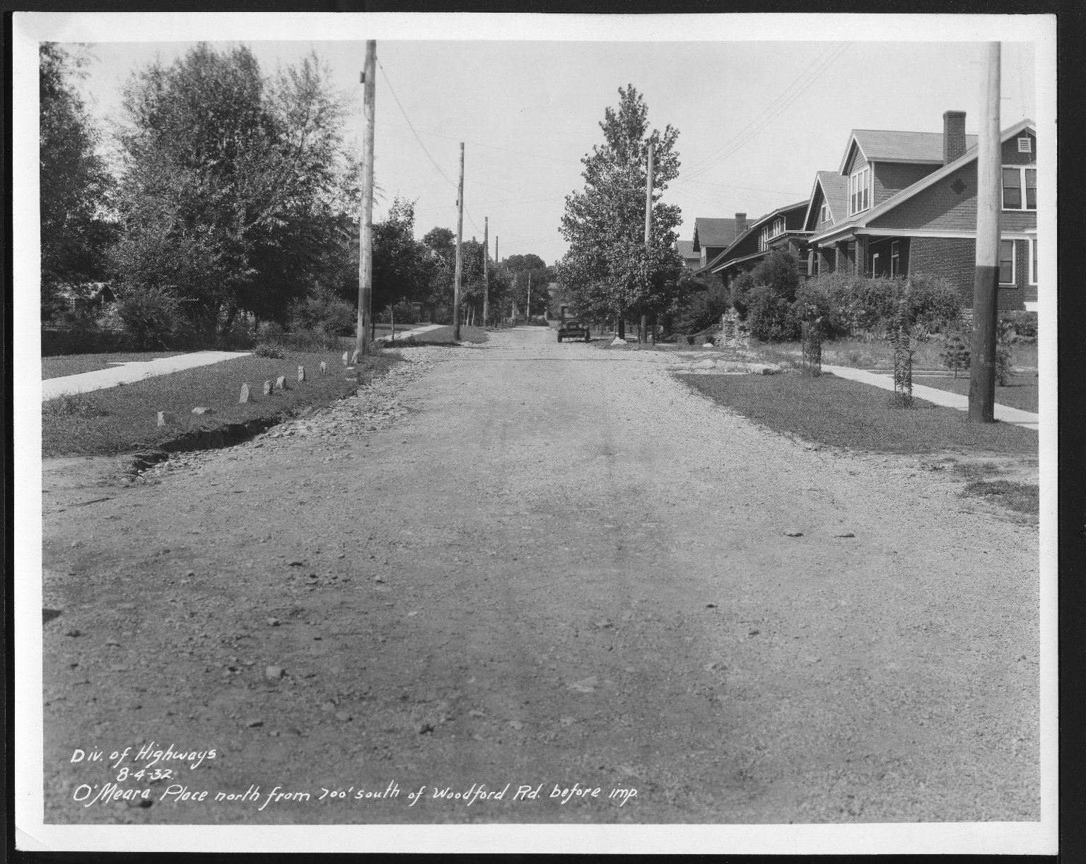 Street Improvement Photographs -- Box 27, Folder 46 (O'Meara Place) -- print, 1932-08-04