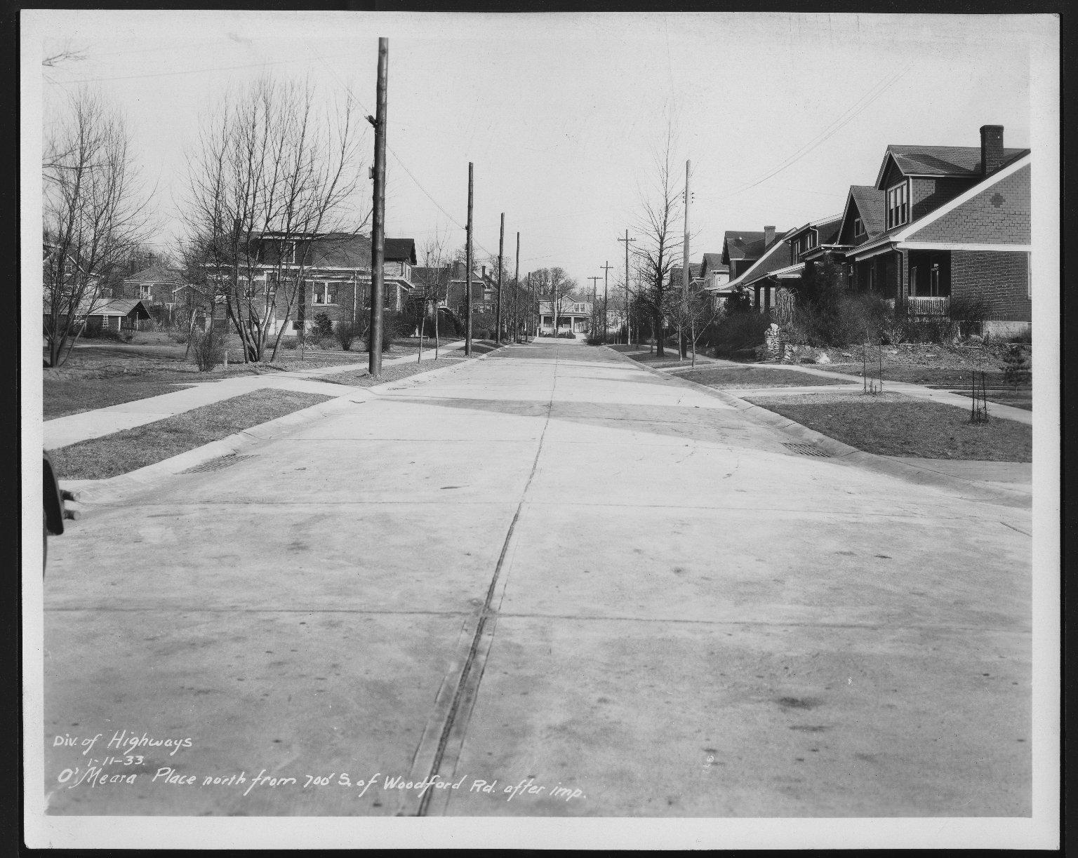 Street Improvement Photographs -- Box 27, Folder 46 (O'Meara Place) -- print, 1933-01-11