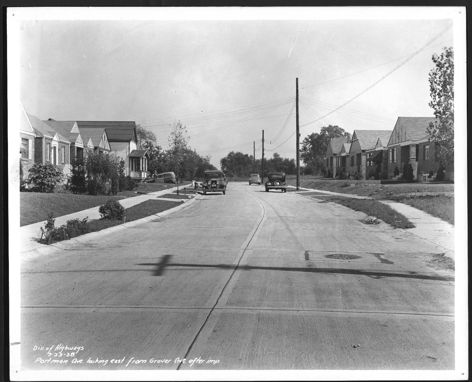 Street Improvement Photographs -- Box 27, Folder 70 (Portman Avenue) -- print, 1938-09-23