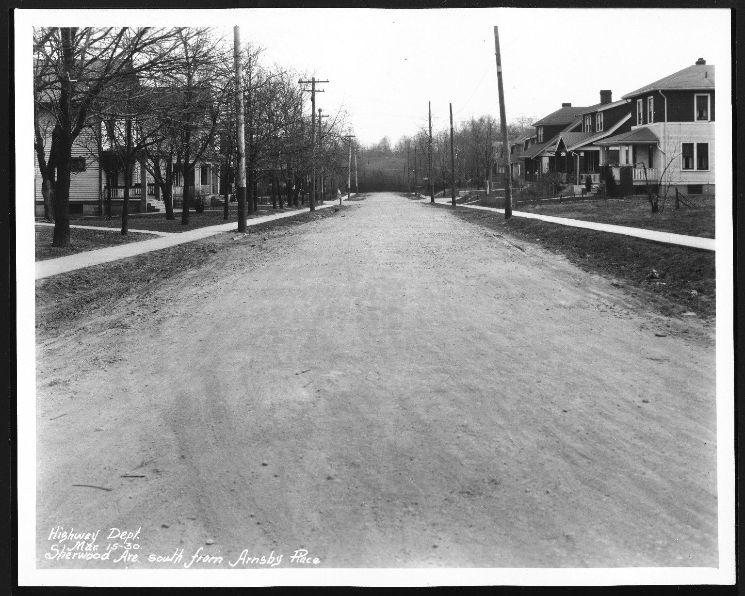 Street Improvement Photographs -- Box 28, Folder 49 (Sherwood Avenue) -- print, 1930-03-15