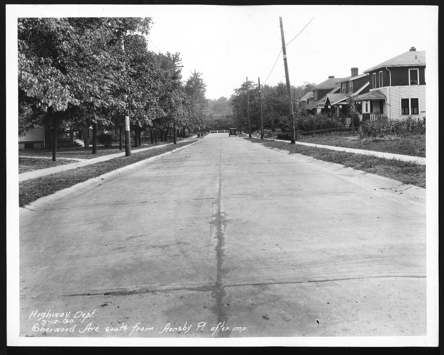 Street Improvement Photographs -- Box 28, Folder 49 (Sherwood Avenue) -- print, 1930-09-12