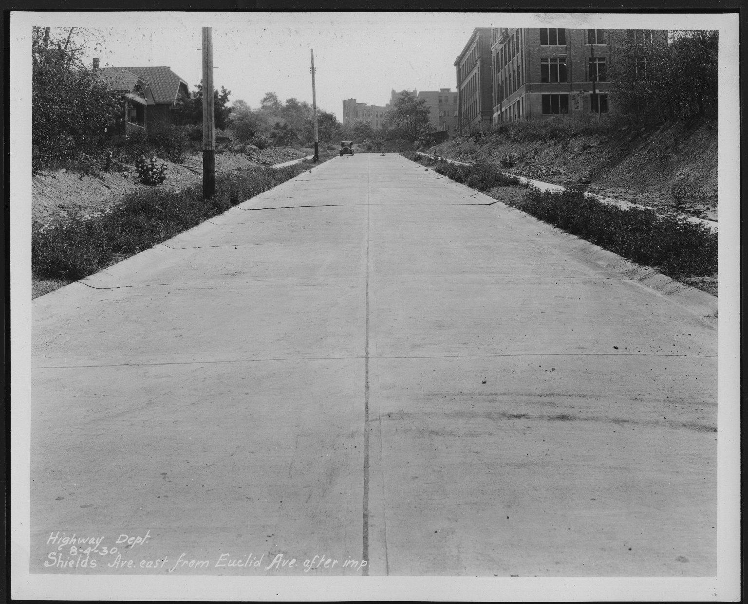 Street Improvement Photographs -- Box 28, Folder 50 (Shields Avenue) -- print, 1930-08-04