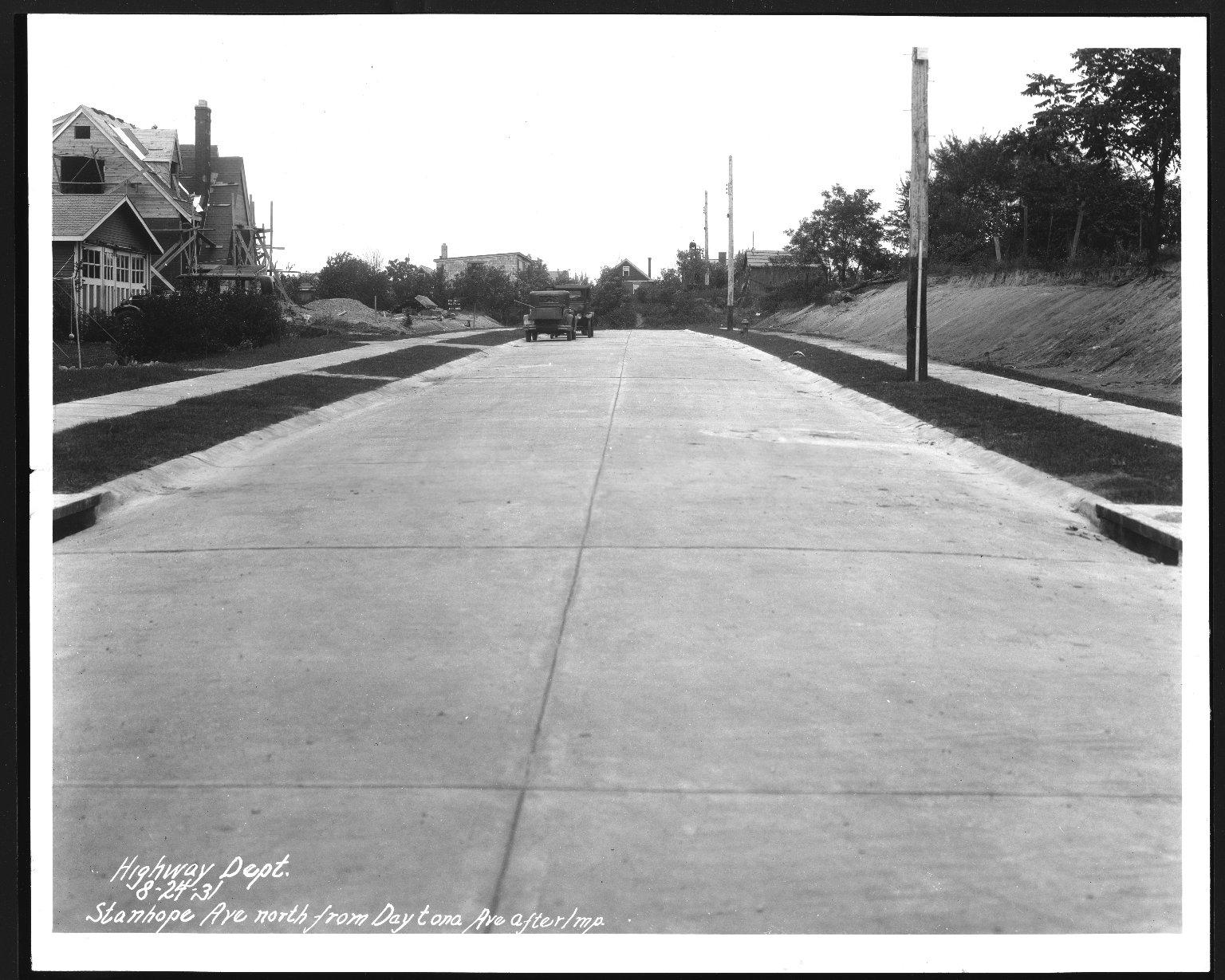 Street Improvement Photographs -- Box 28, Folder 75 (Stanhope Avenue) -- print, 1931-08-24