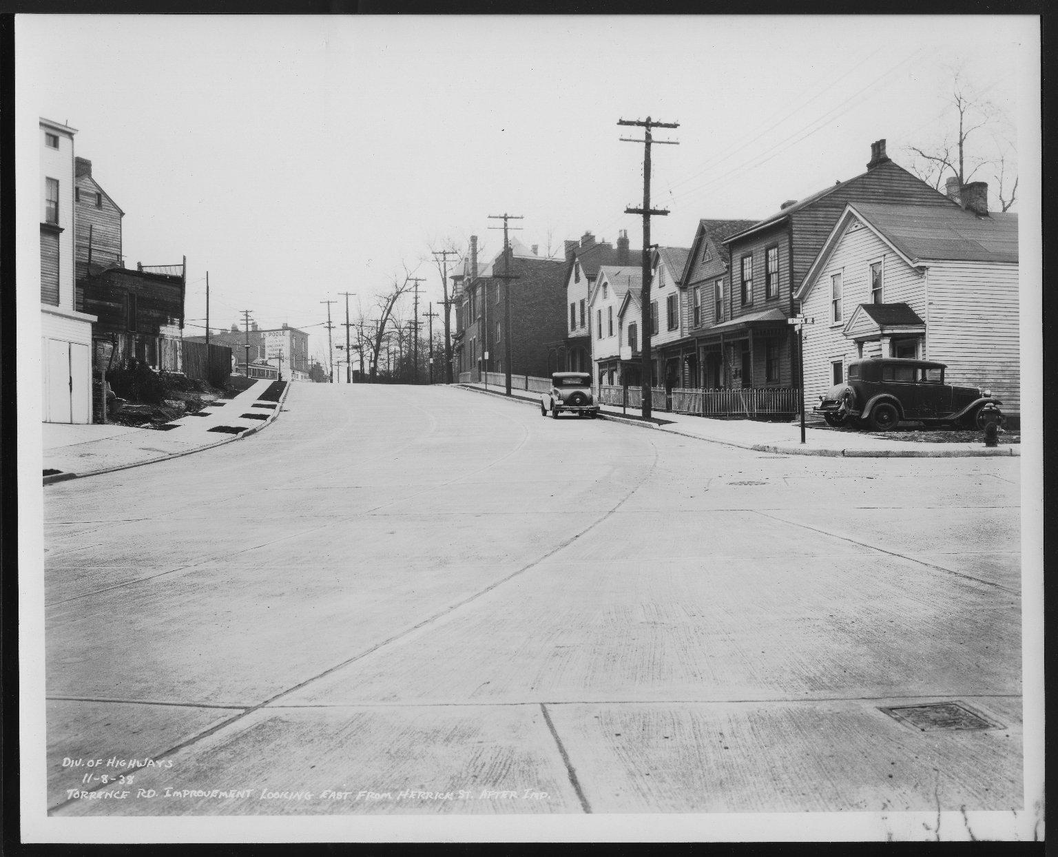 Street Improvement Photographs -- Box 29, Folder 37 (Torrence Road) -- print, 1938-11-08