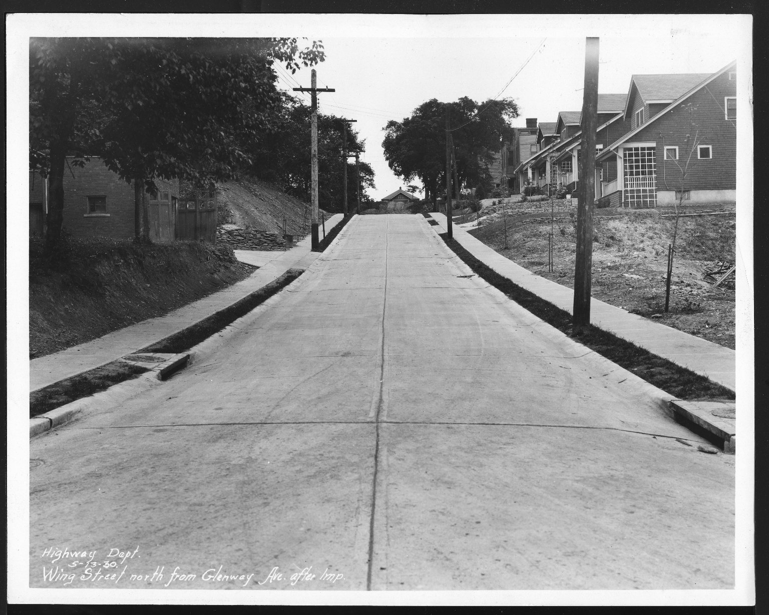 Street Improvement Photographs -- Box 30, Folder 22 (Wing Street) -- print, 1930-05-13