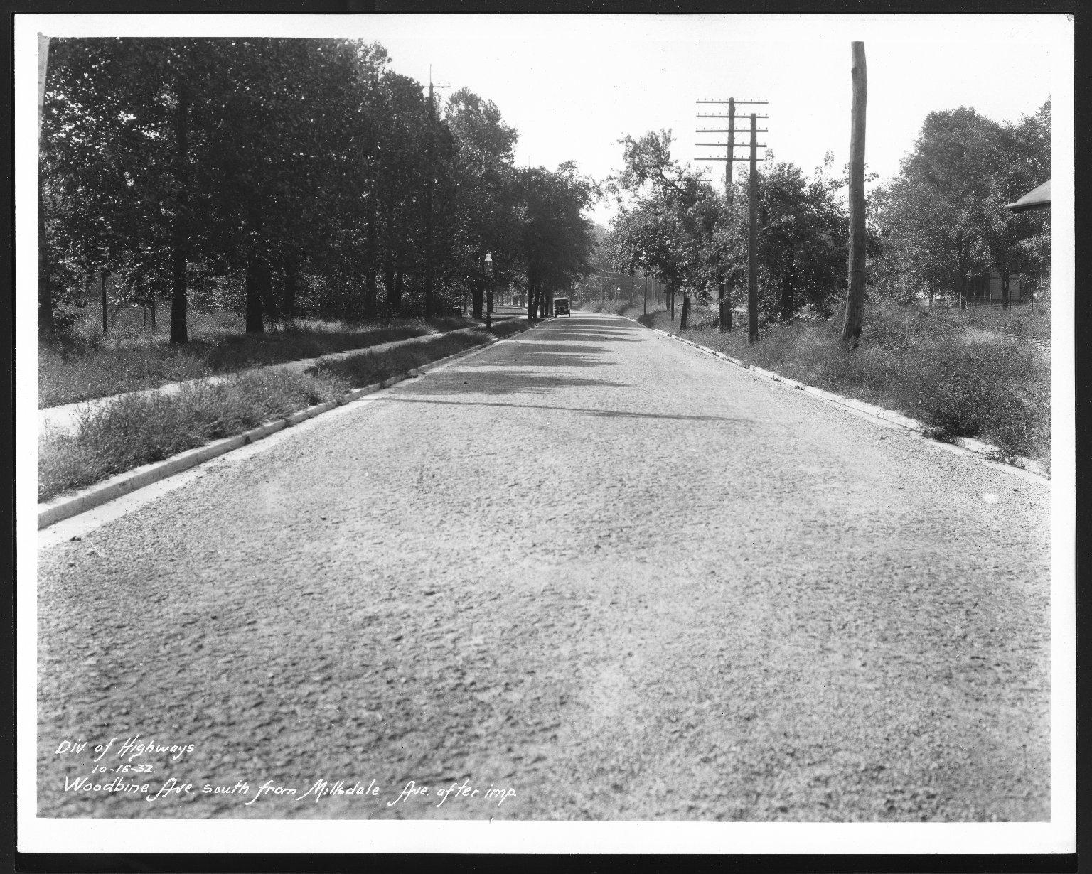 Street Improvement Photographs -- Box 30, Folder 25 (Woodbine Avenue) -- print, 1932-10-16