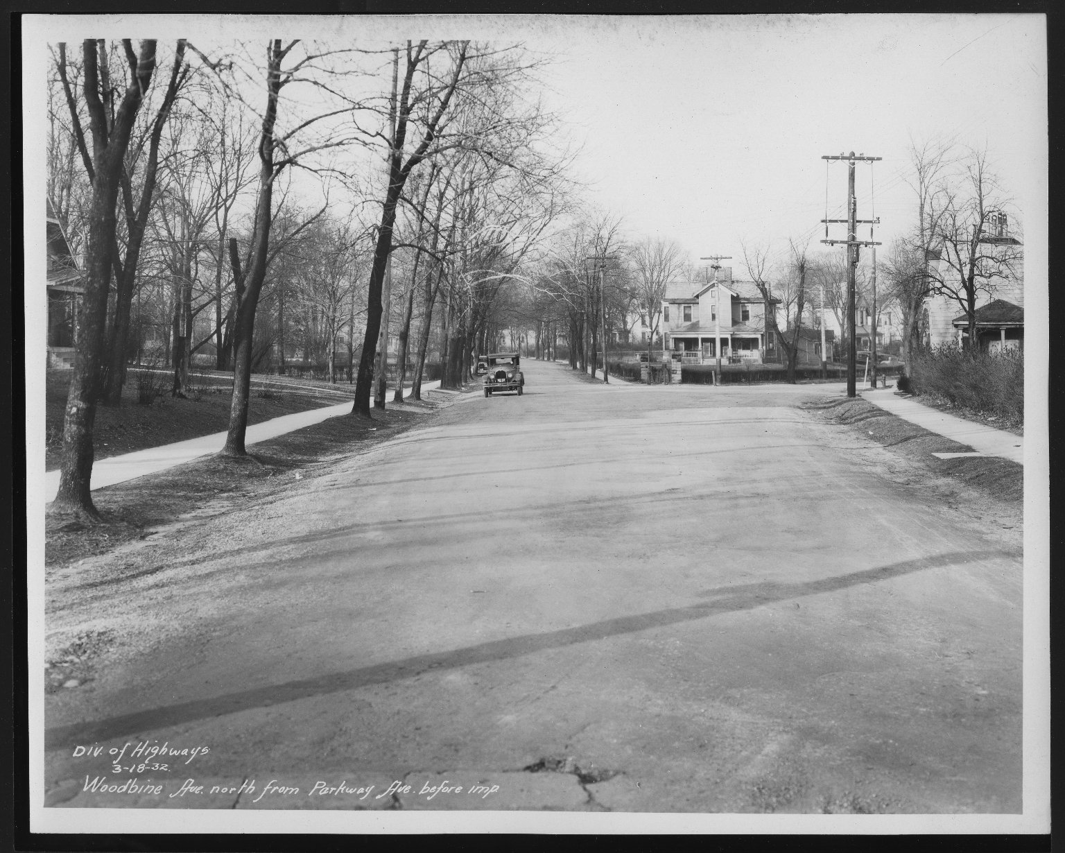 Street Improvement Photographs -- Box 30, Folder 25 (Woodbine Avenue) -- print, 1932-03-18