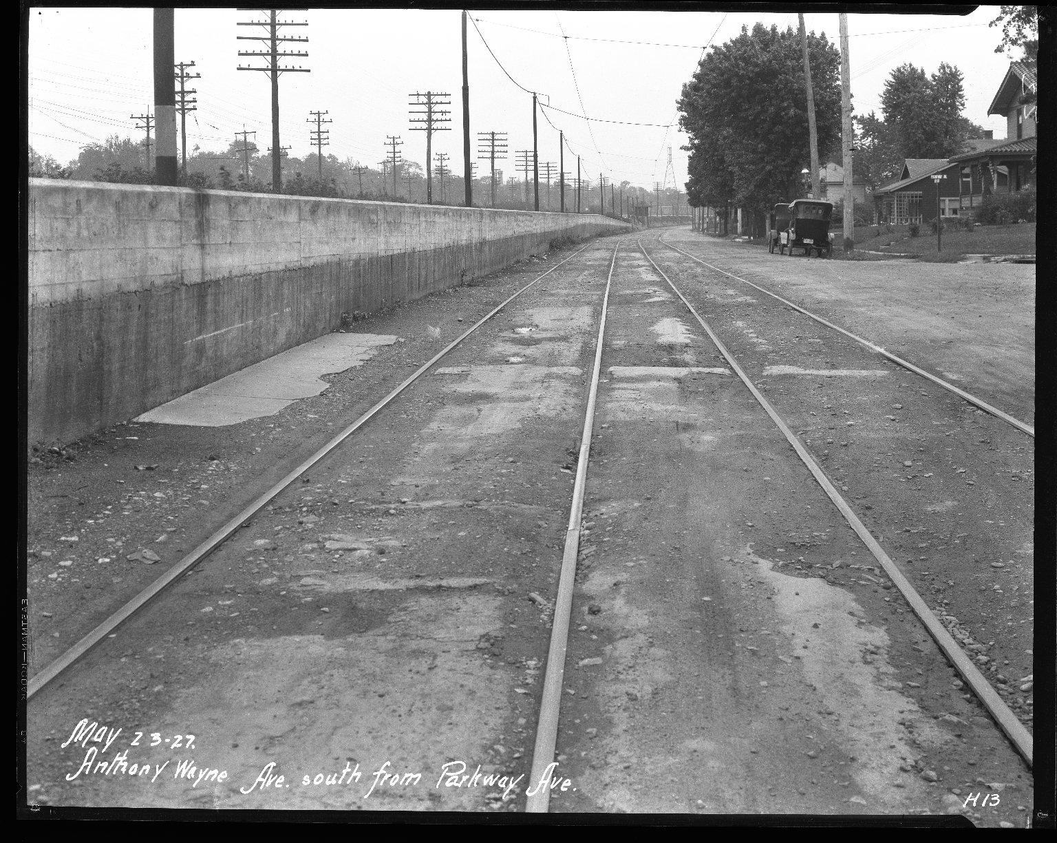 Street Improvement Photographs -- Box 31, Folder 04 (Anthony Wayne Avenue) -- negative, 1927-05-23