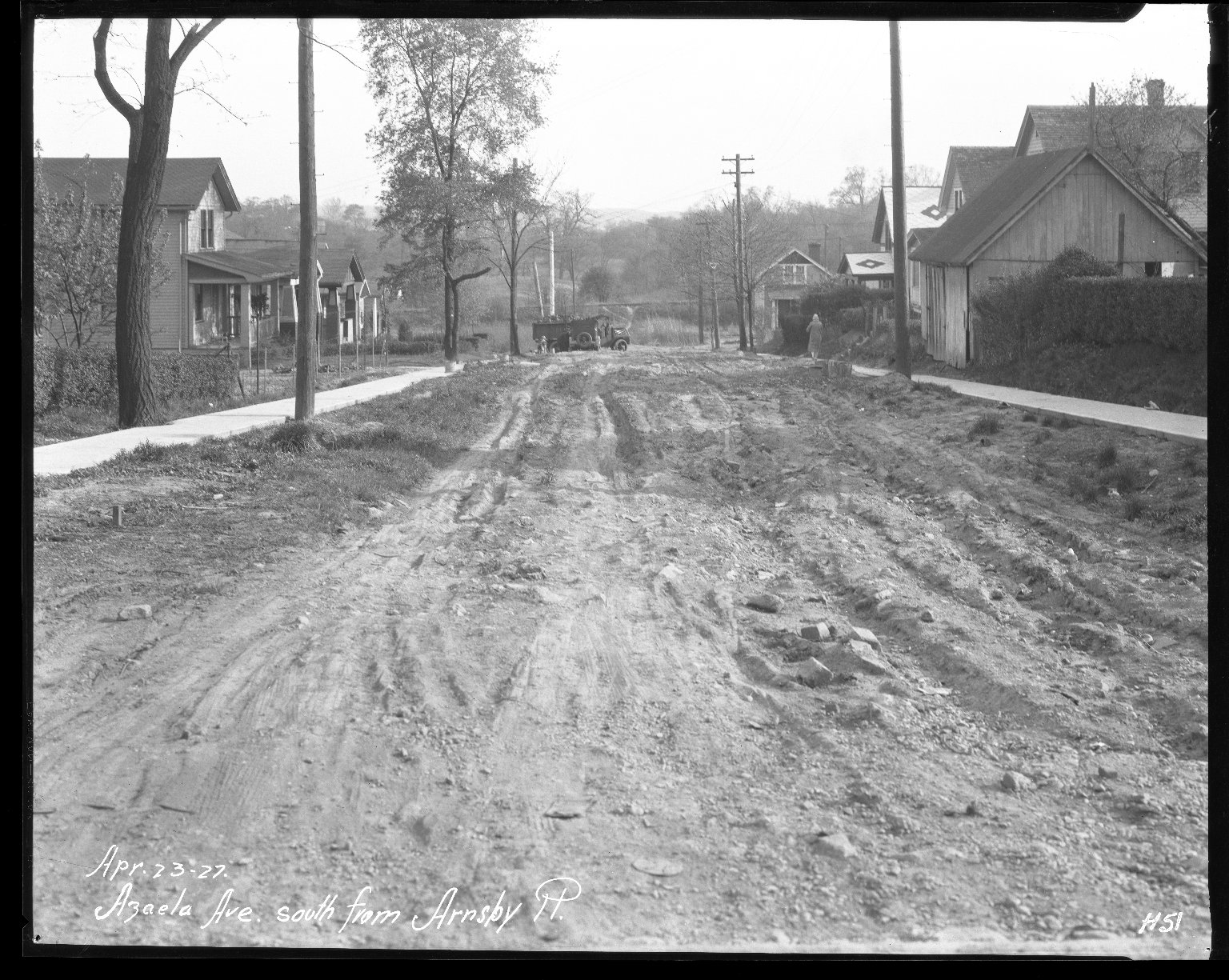 Street Improvement Photographs -- Box 31, Folder 12 (Azaela Avenue) -- negative, 1927-04-23