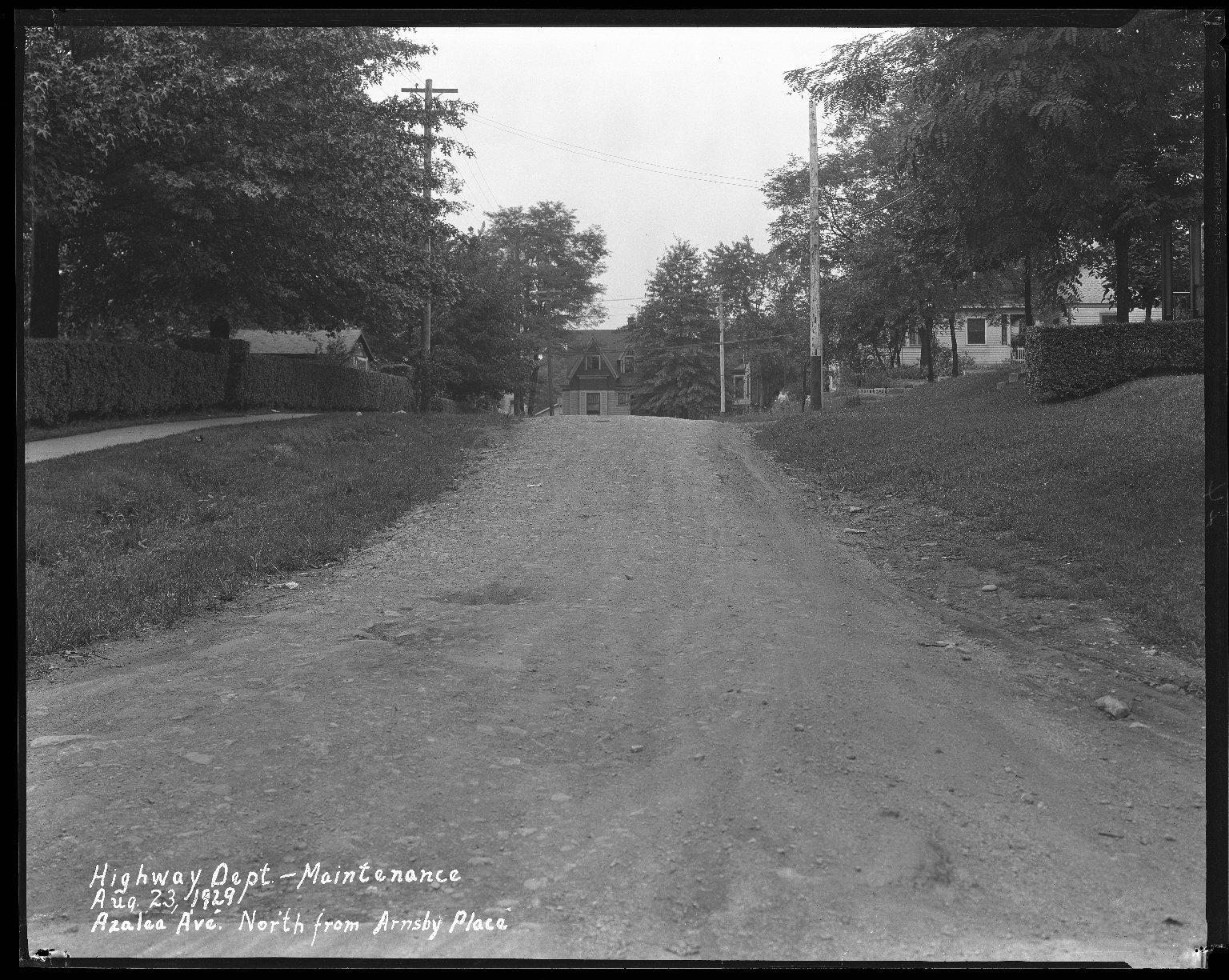 Street Improvement Photographs -- Box 31, Folder 12 (Azaela Avenue) -- negative, 1929-08-23