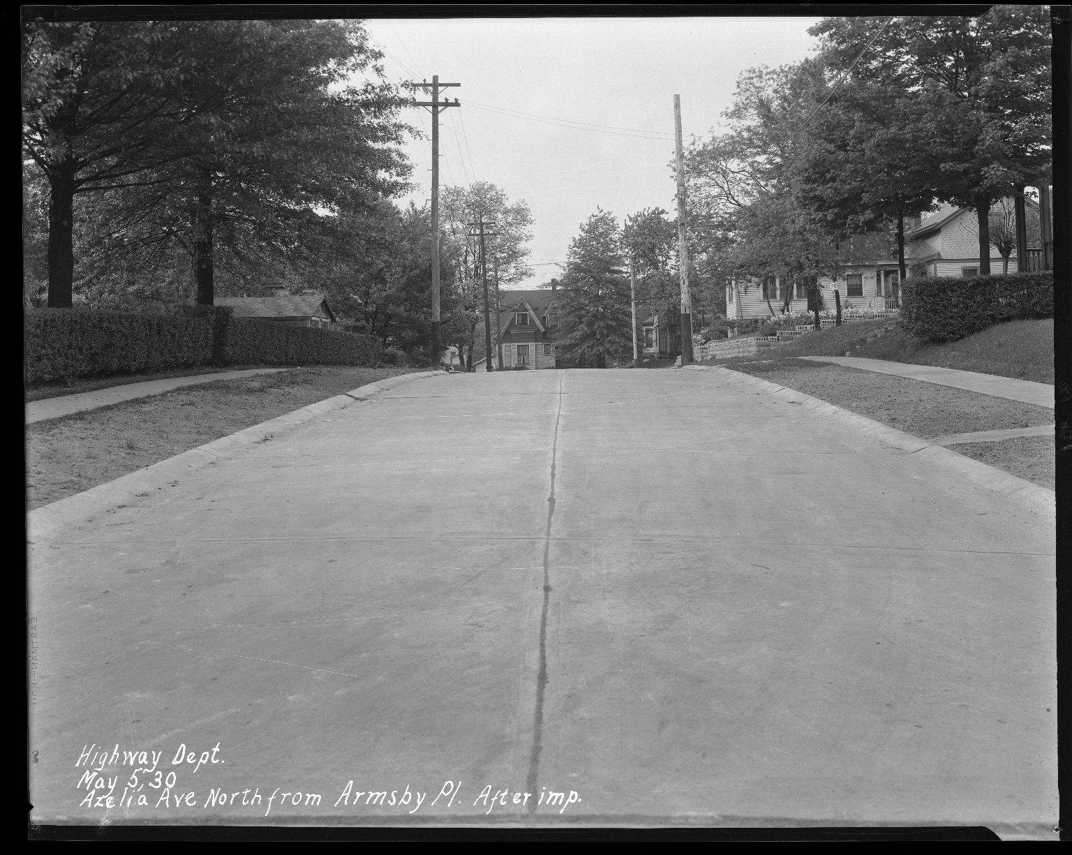 Street Improvement Photographs -- Box 31, Folder 12 (Azaela Avenue) -- negative, 1930-05-05