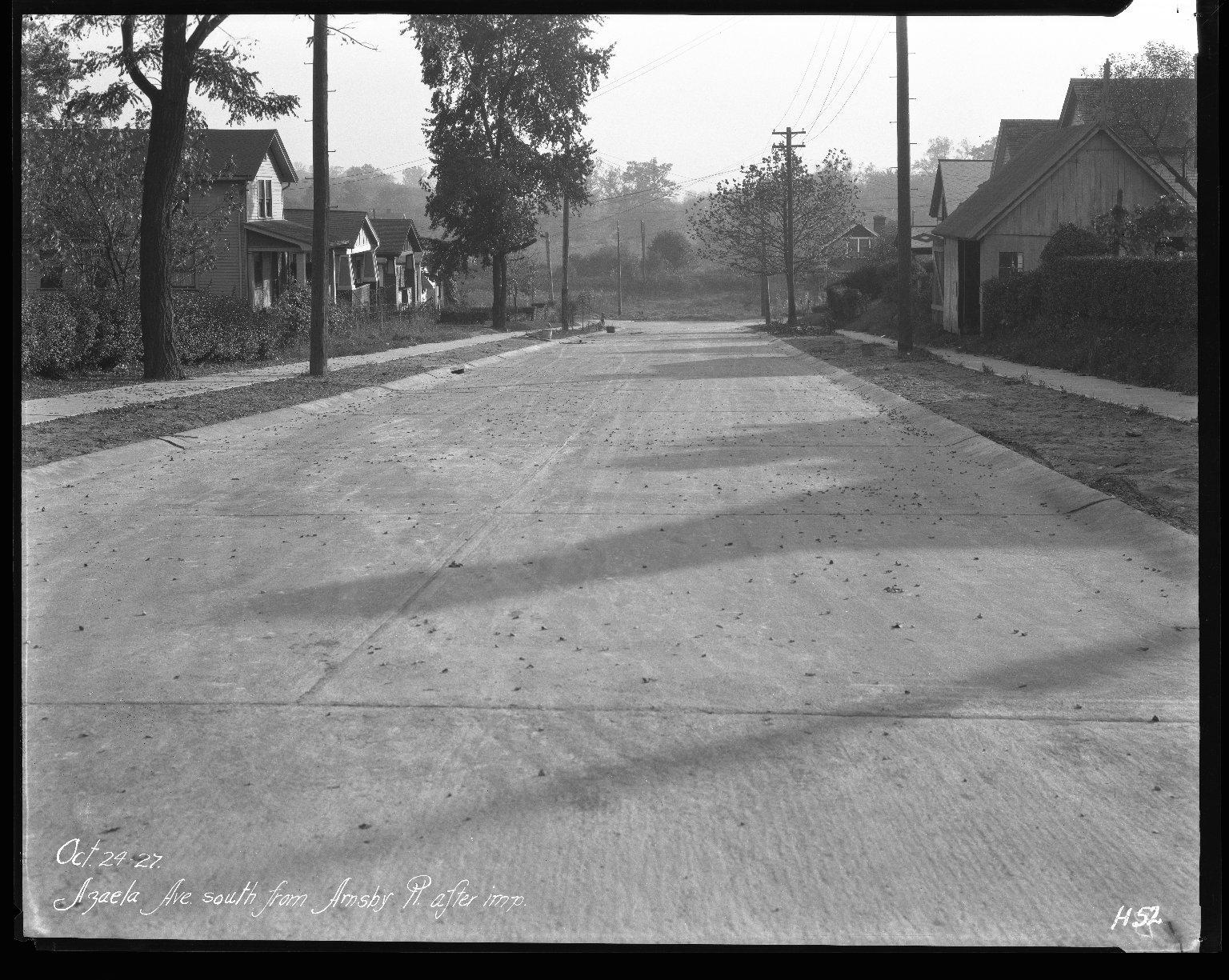 Street Improvement Photographs -- Box 31, Folder 12 (Azaela Avenue) -- negative, 1927-10-24