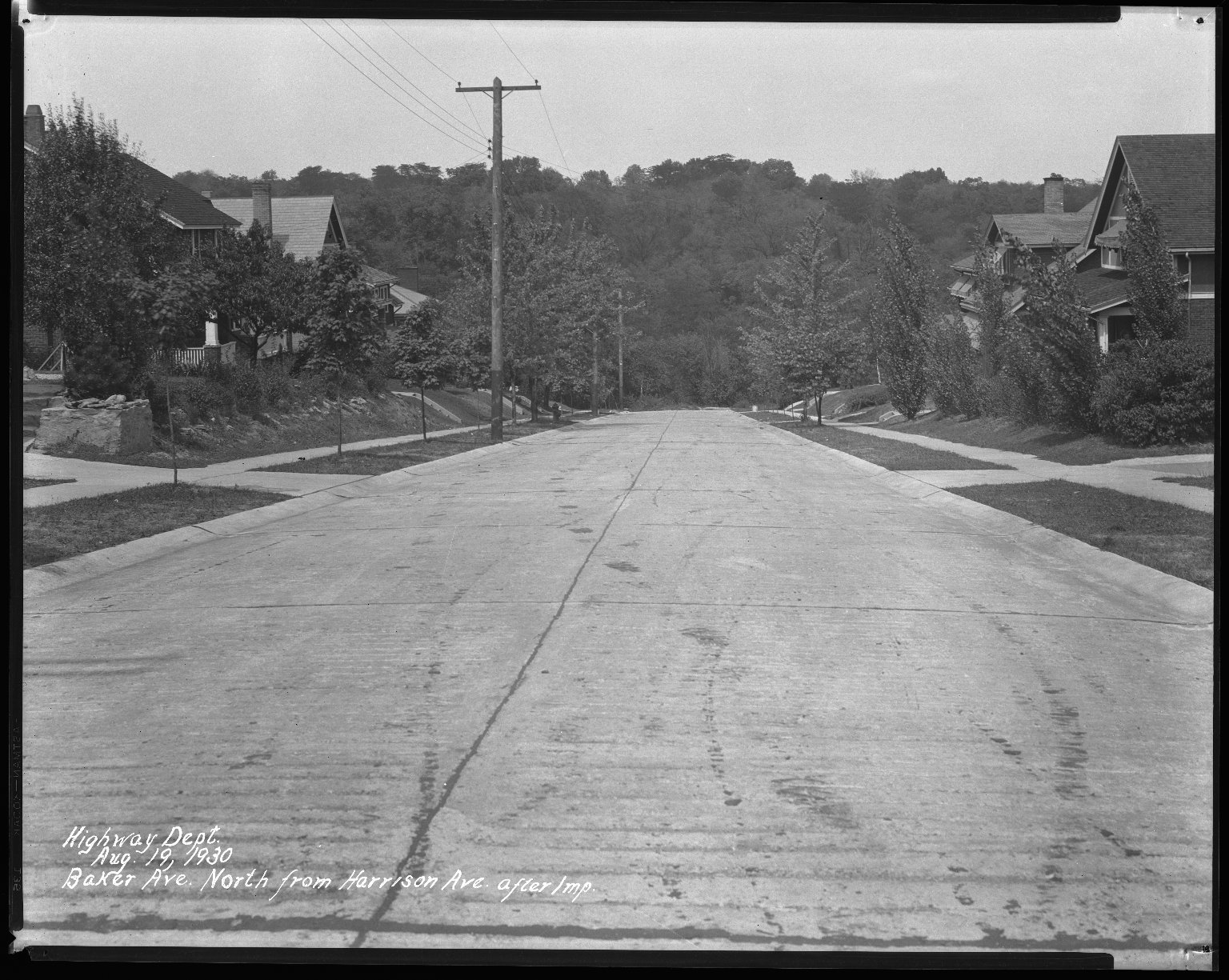 Street Improvement Photographs -- Box 31, Folder 14 (Baker Avenue) -- negative, 1930-08-19