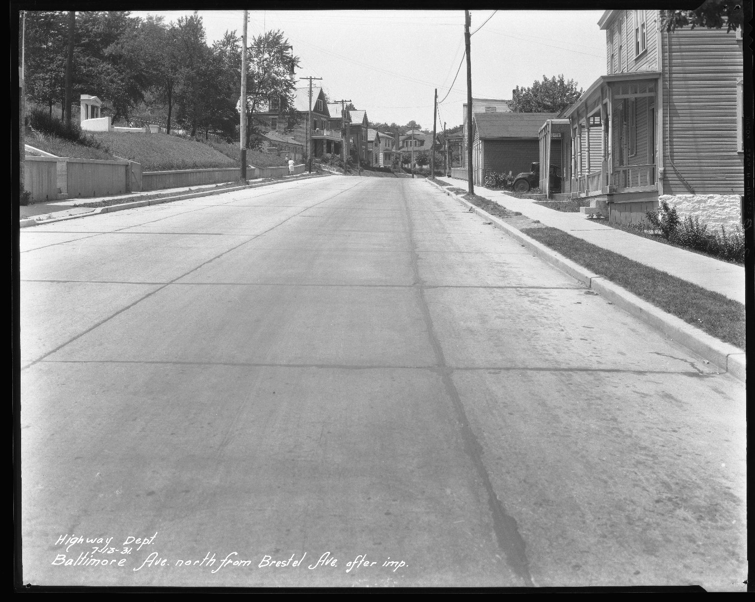 Street Improvement Photographs -- Box 31, Folder 16 (Baltimore Avenue) -- negative, 1931-07-13