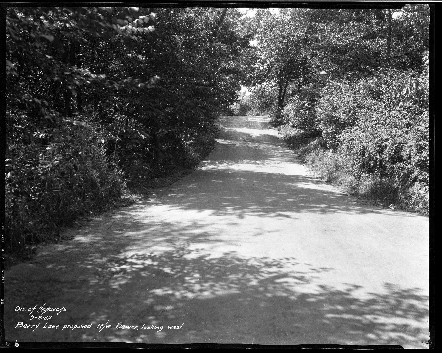 Street Improvement Photographs -- Box 32, Folder 01 (Barry Lane) -- negative, 1932-09-08