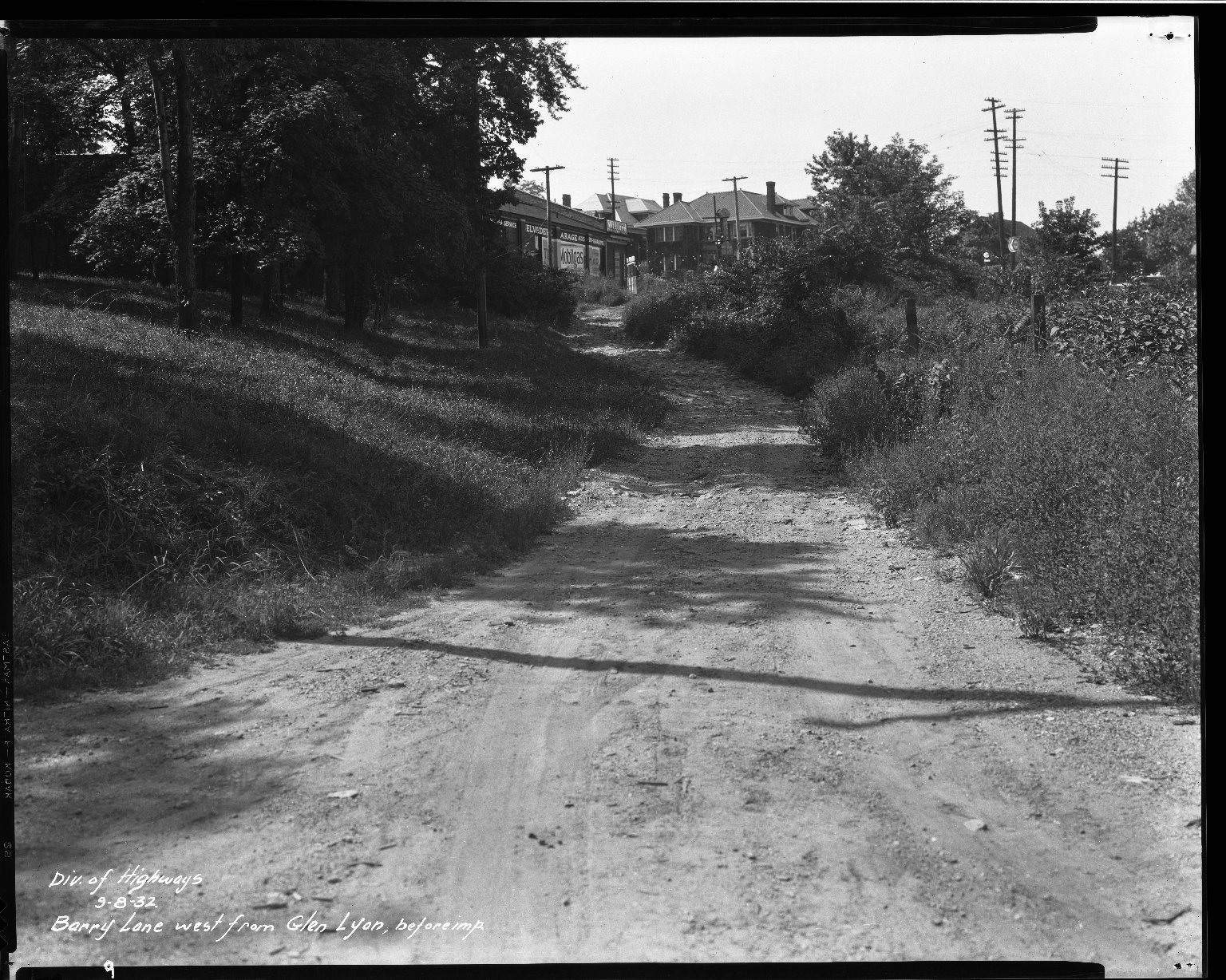 Street Improvement Photographs -- Box 32, Folder 01 (Barry Lane) -- negative, 1932-09-08