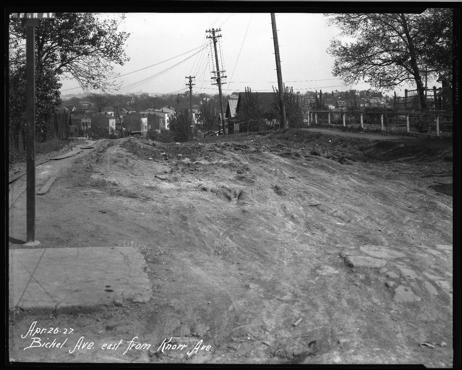 Street Improvement Photographs -- Box 32, Folder 20 (Bickel Avenue) -- negative, 1927-04-26