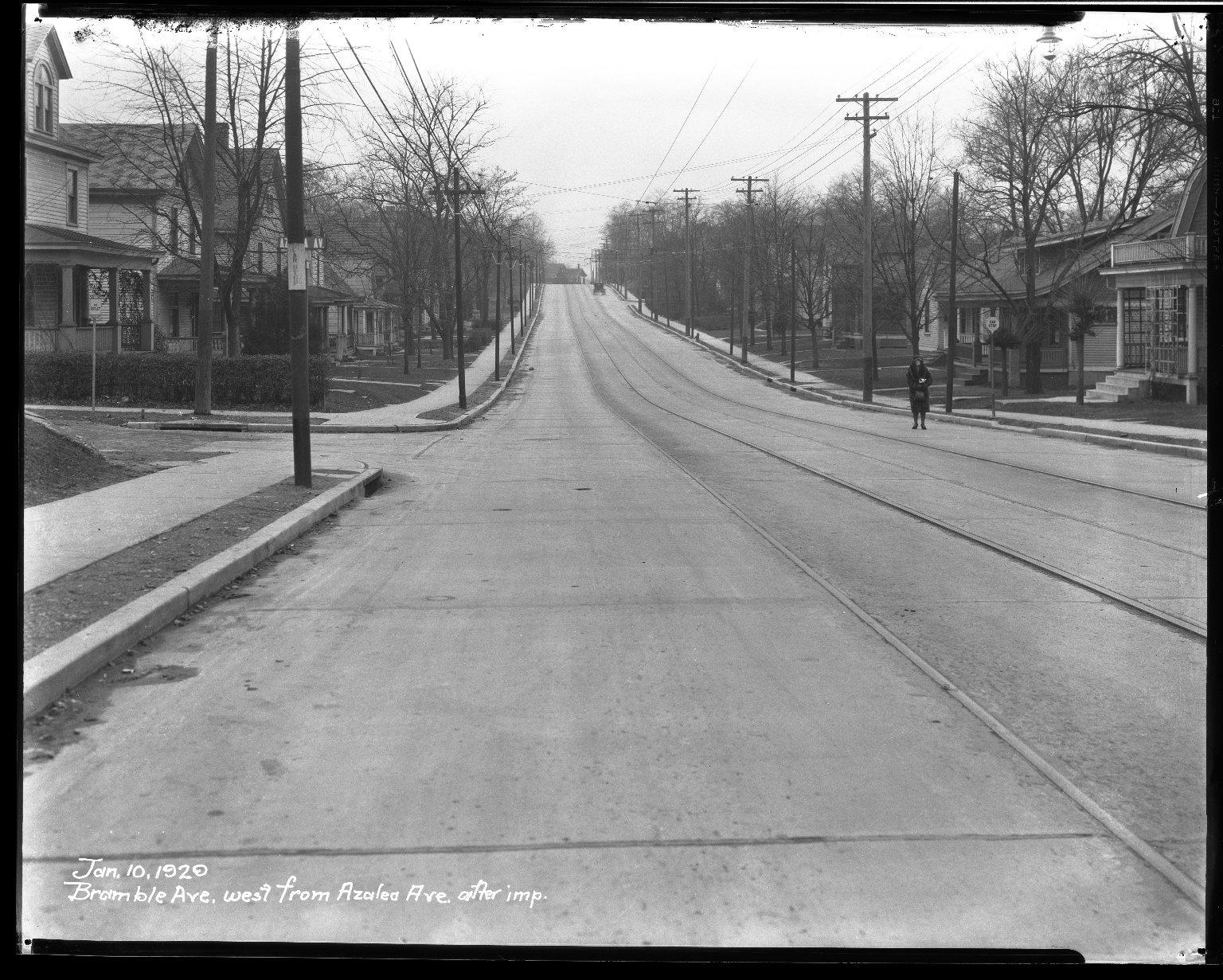 Street Improvement Photographs -- Box 32, Folder 26 (Bramble Avenue) -- negative, 1929-01-10