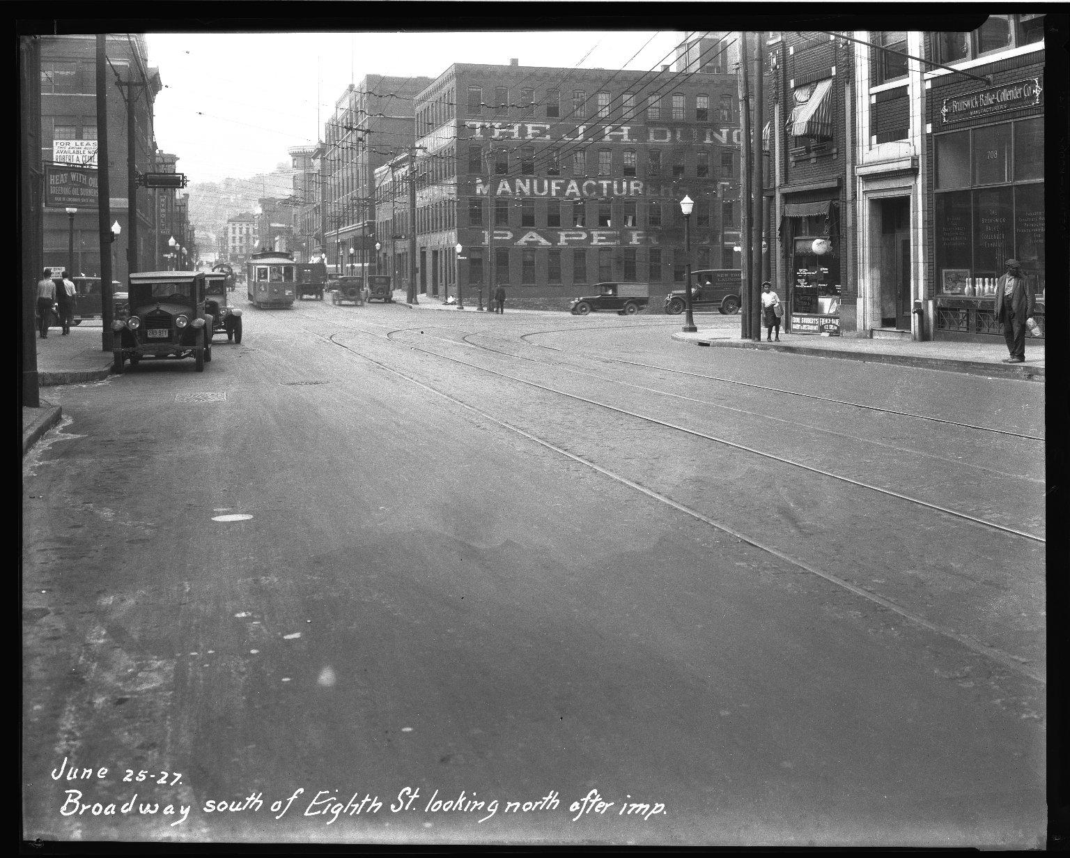 Street Improvement Photographs -- Box 32, Folder 28 (Broadway Street) -- negative, 1927-06-25
