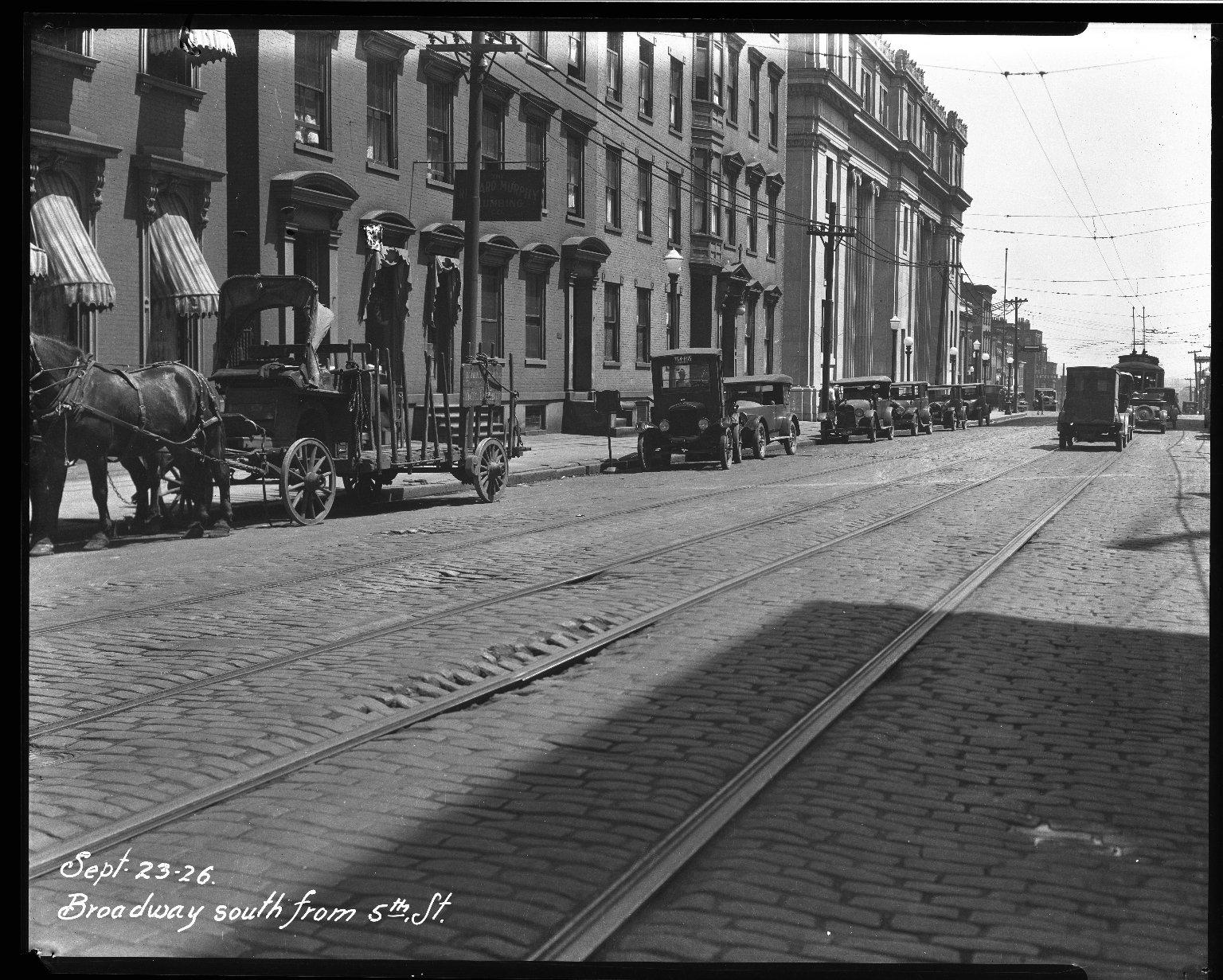 Street Improvement Photographs -- Box 32, Folder 29 (Broadway Street) -- negative, 1926-09-23