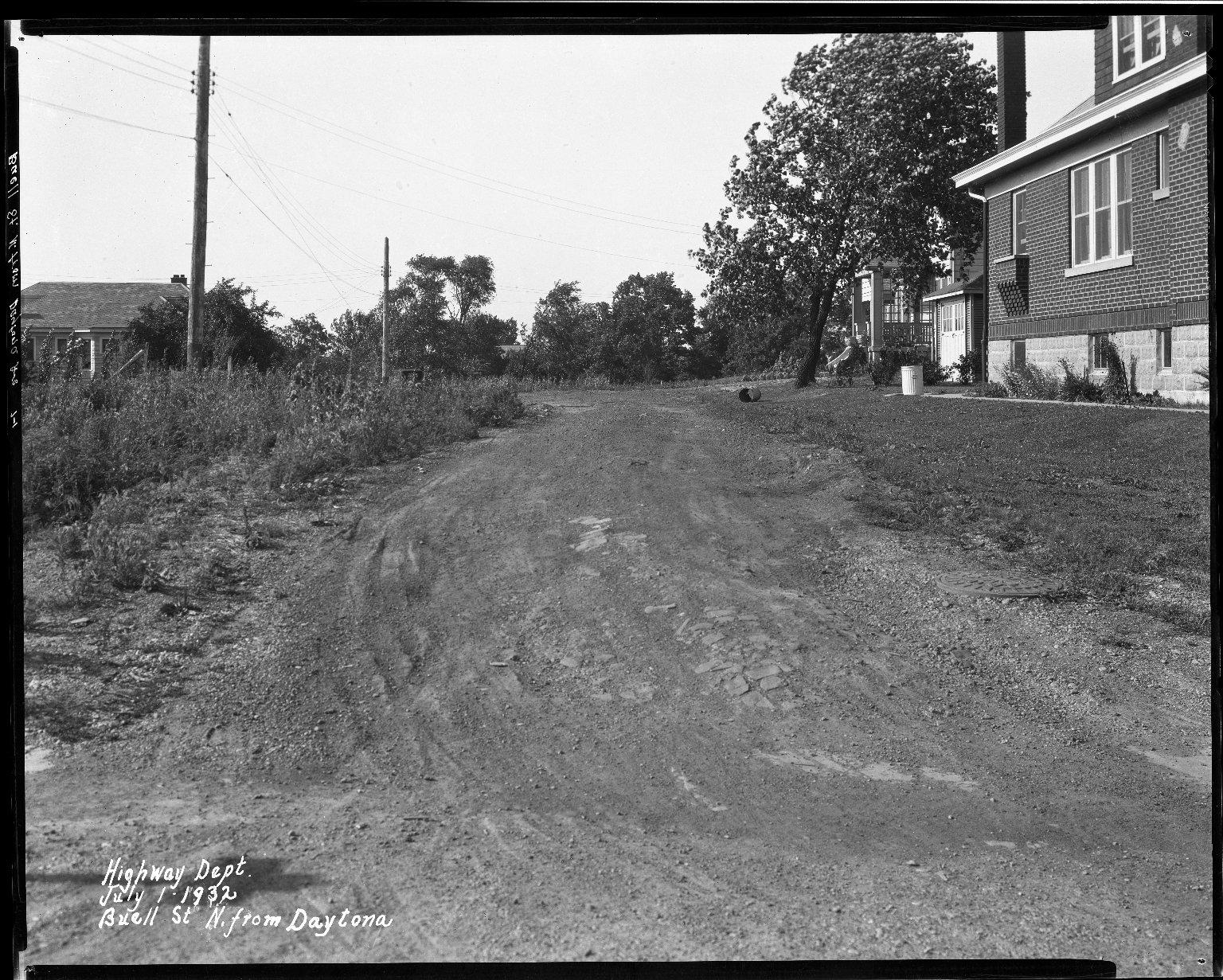 Street Improvement Photographs -- Box 32, Folder 32 (Buell Street) -- negative, 1932-07-01