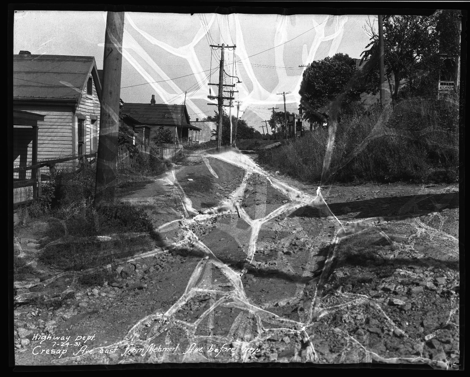 Street Improvement Photographs -- Box 33, Folder 28 (Cresap Avenue) -- negative, 1931-07-24