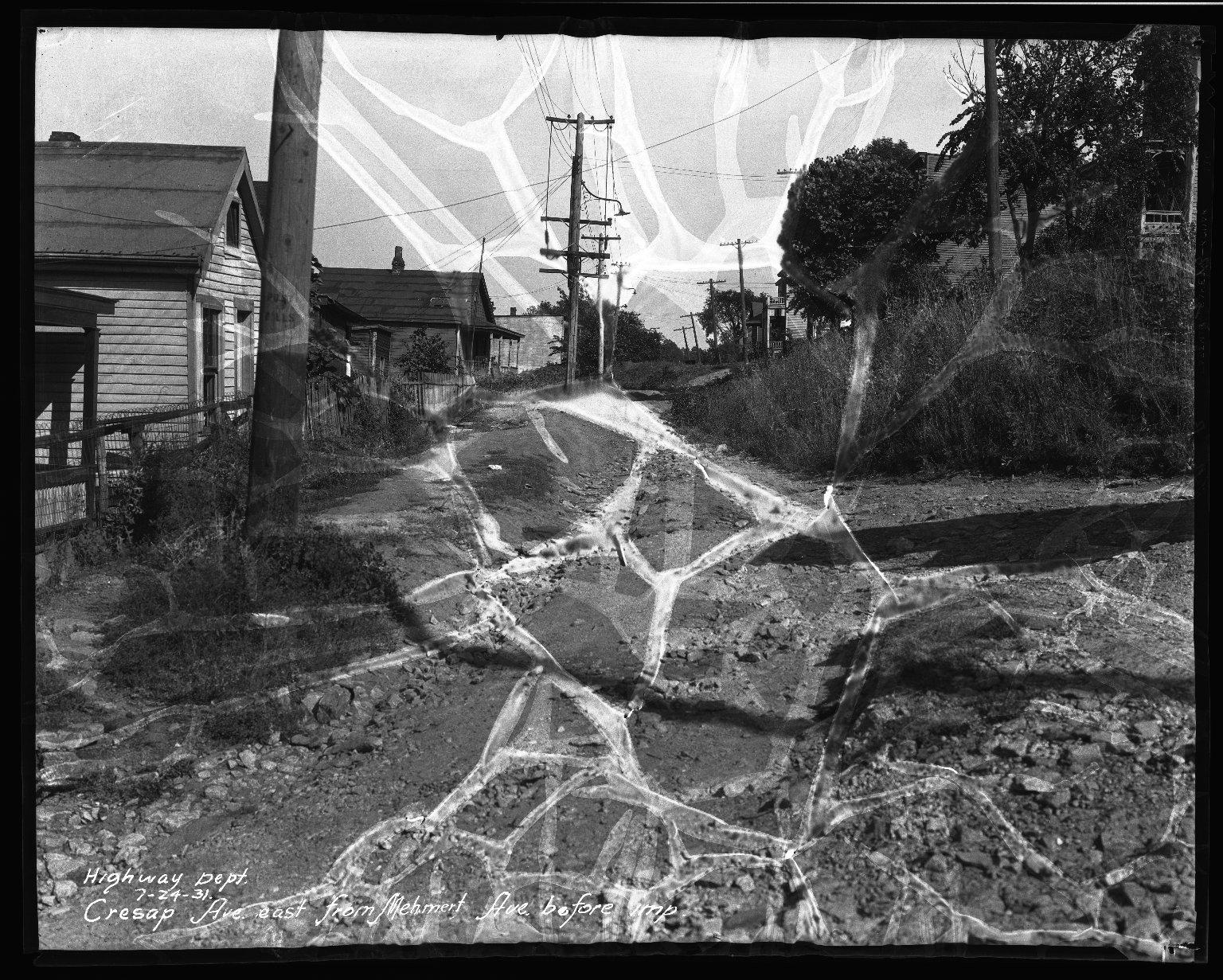 Street Improvement Photographs -- Box 33, Folder 28 (Cresap Avenue) -- negative, 1931-07-24