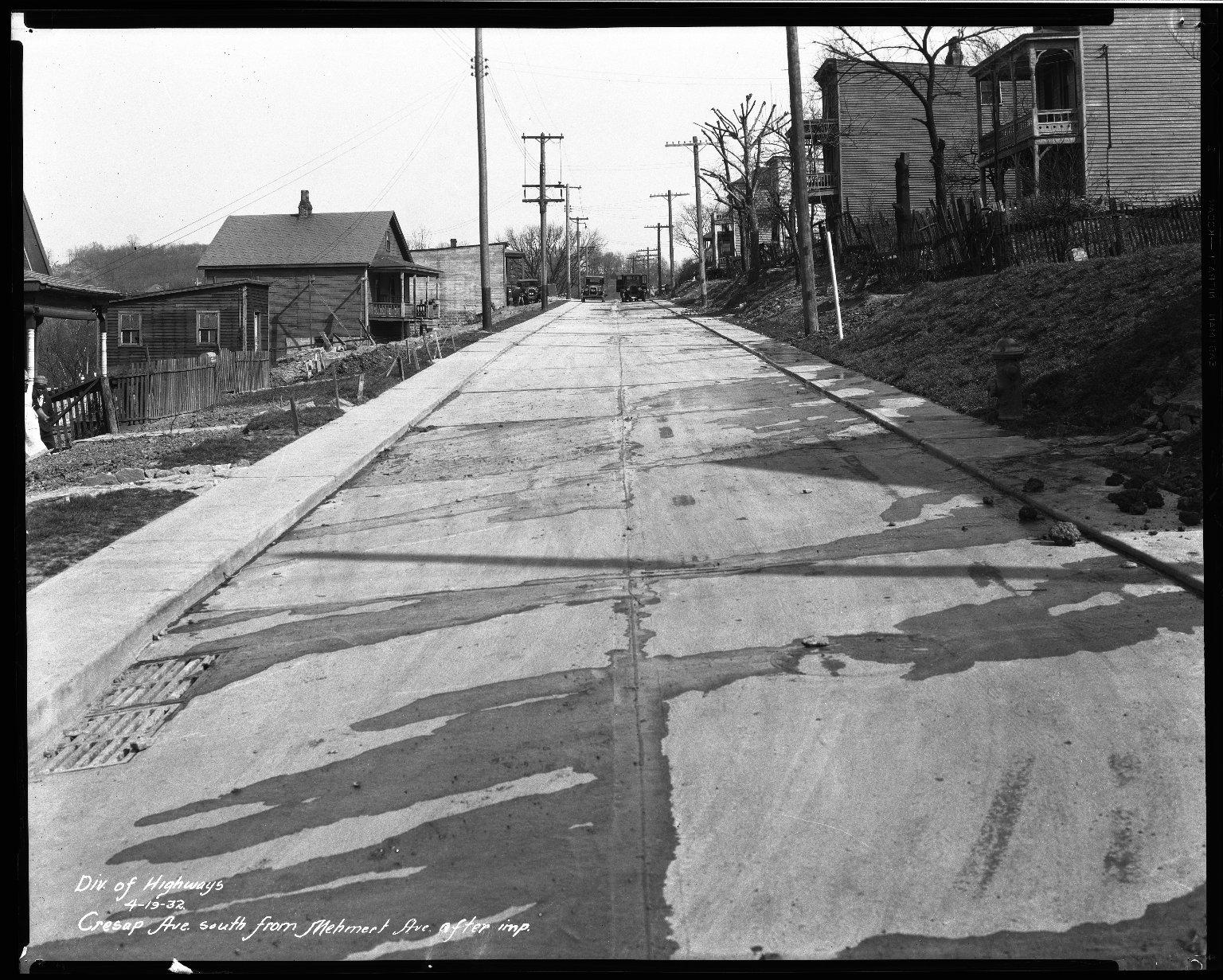 Street Improvement Photographs -- Box 33, Folder 28 (Cresap Avenue) -- negative, 1932-04-19