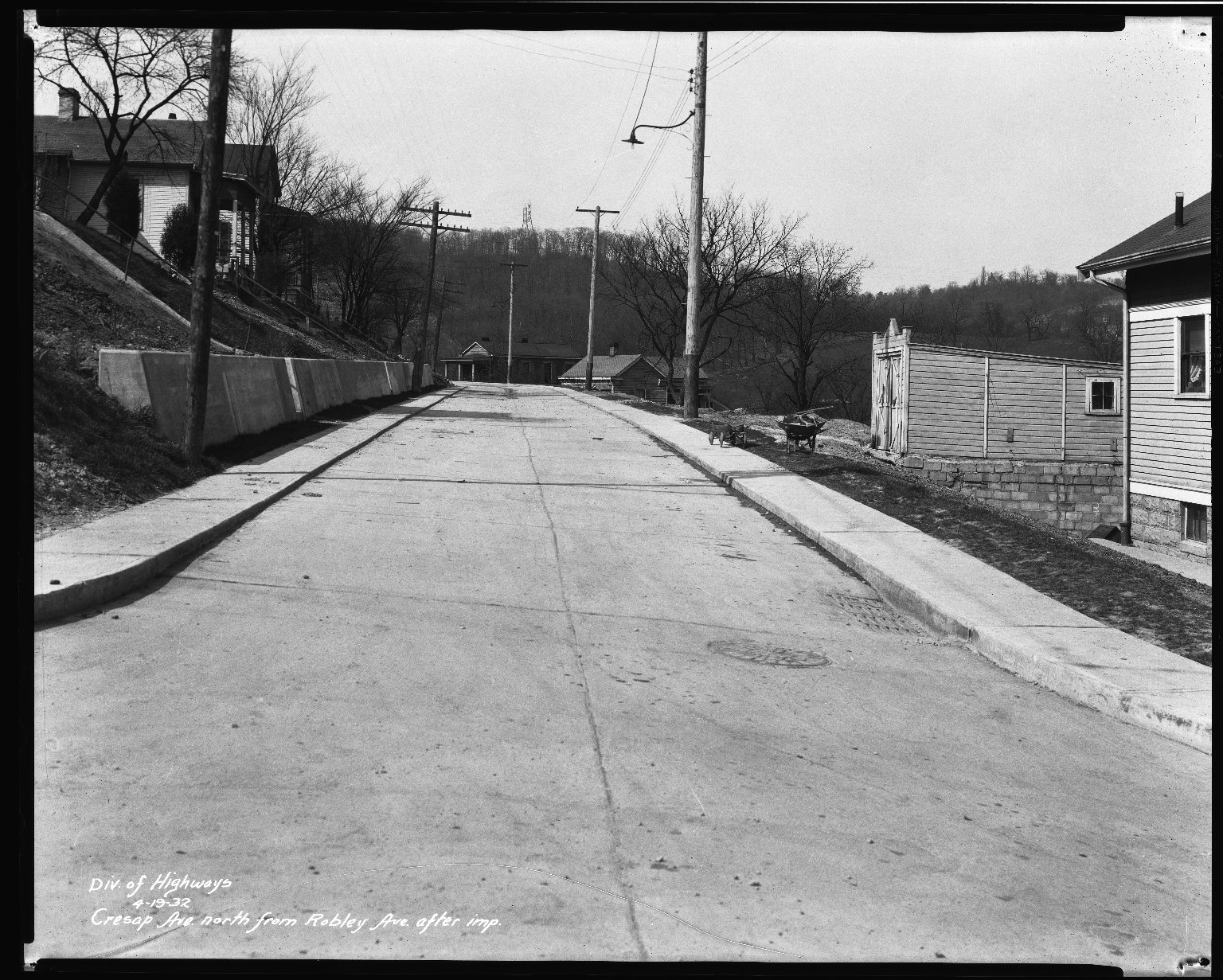 Street Improvement Photographs -- Box 33, Folder 28 (Cresap Avenue) -- negative, 1932-04-19