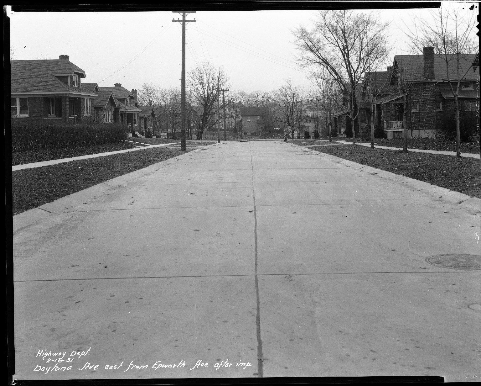 Street Improvement Photographs -- Box 33, Folder 46 (Daytona Avenue) -- negative, 1931-02-16