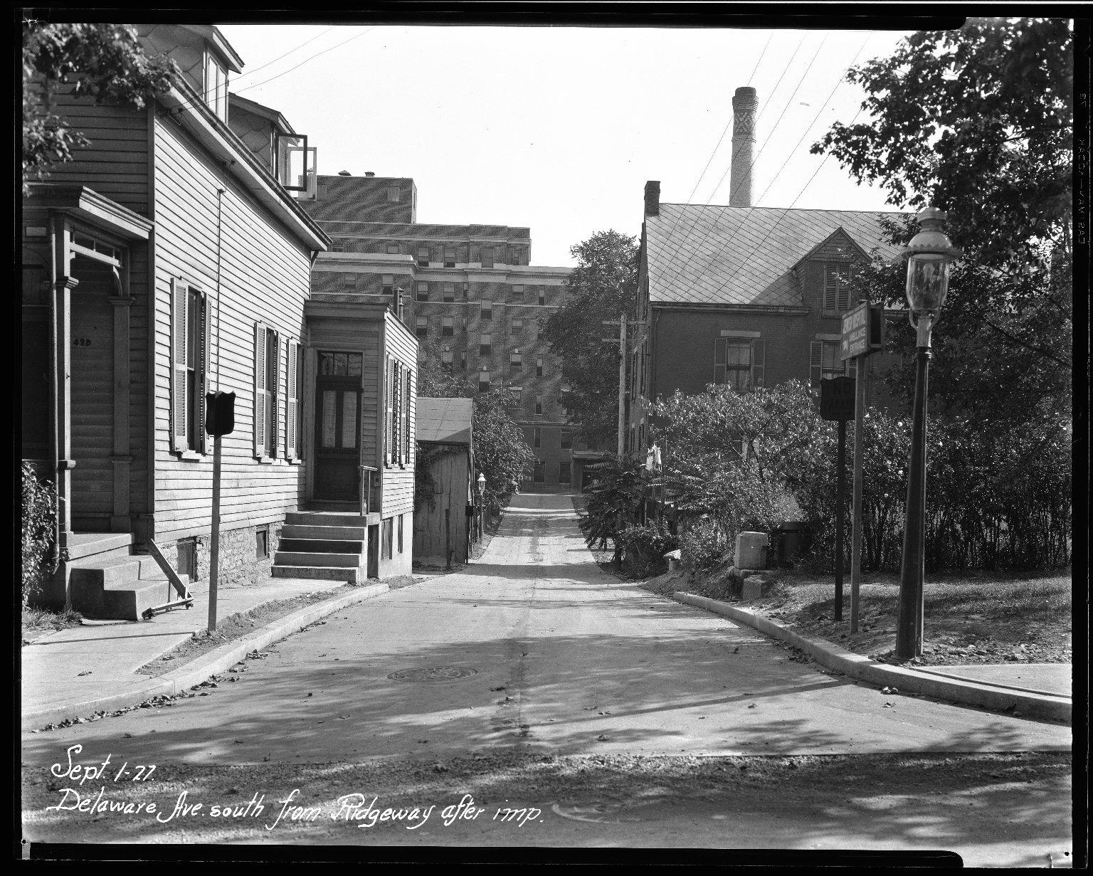 Street Improvement Photographs -- Box 33, Folder 47 (Delaware Avenue) -- negative, 1927-09-01