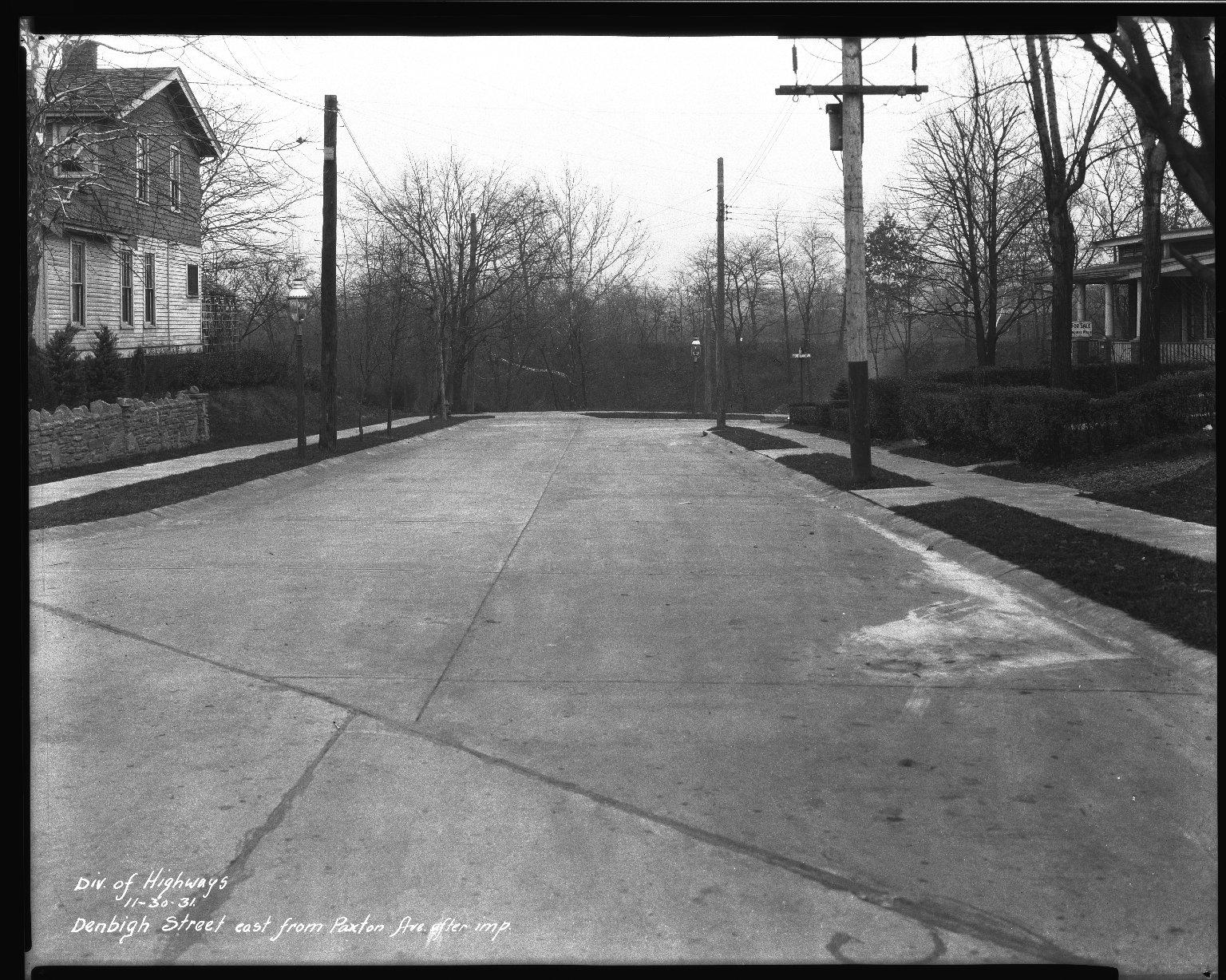 Street Improvement Photographs -- Box 34, Folder 02 (Denbigh Street) -- negative, 1931-11-30