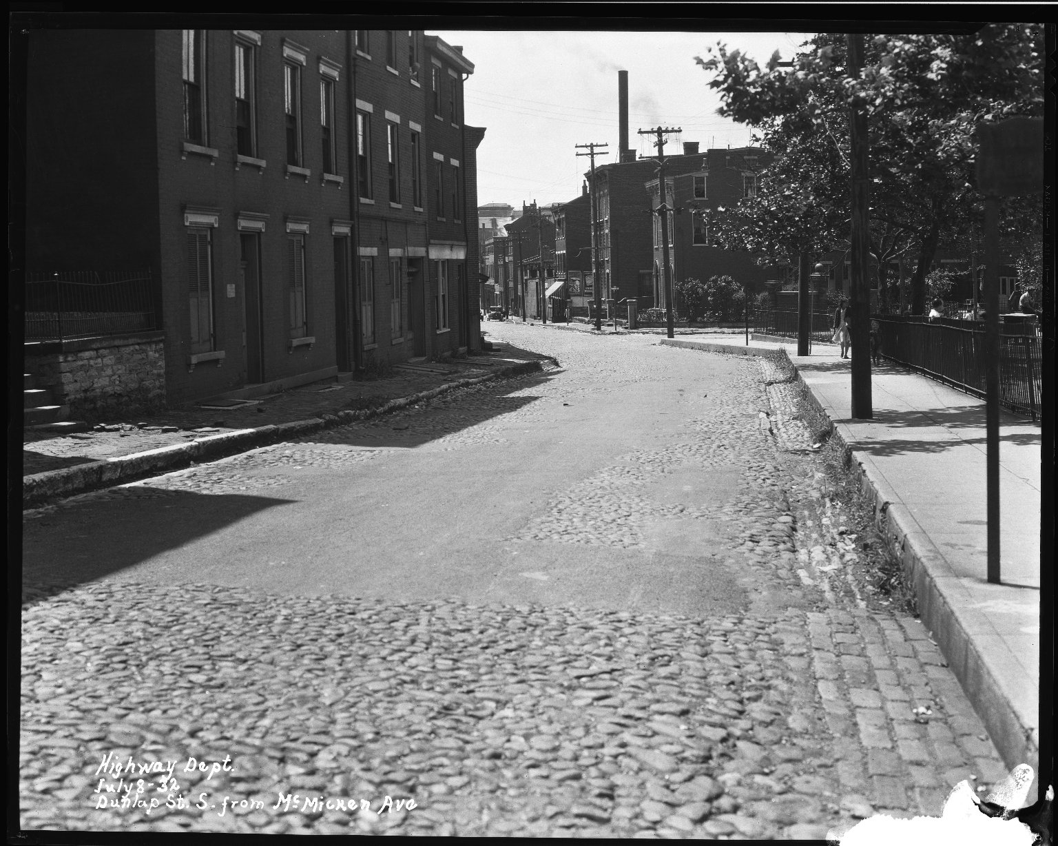 Street Improvement Photographs -- Box 34, Folder 13 (Dunlap Street) -- negative, 1932-07-08