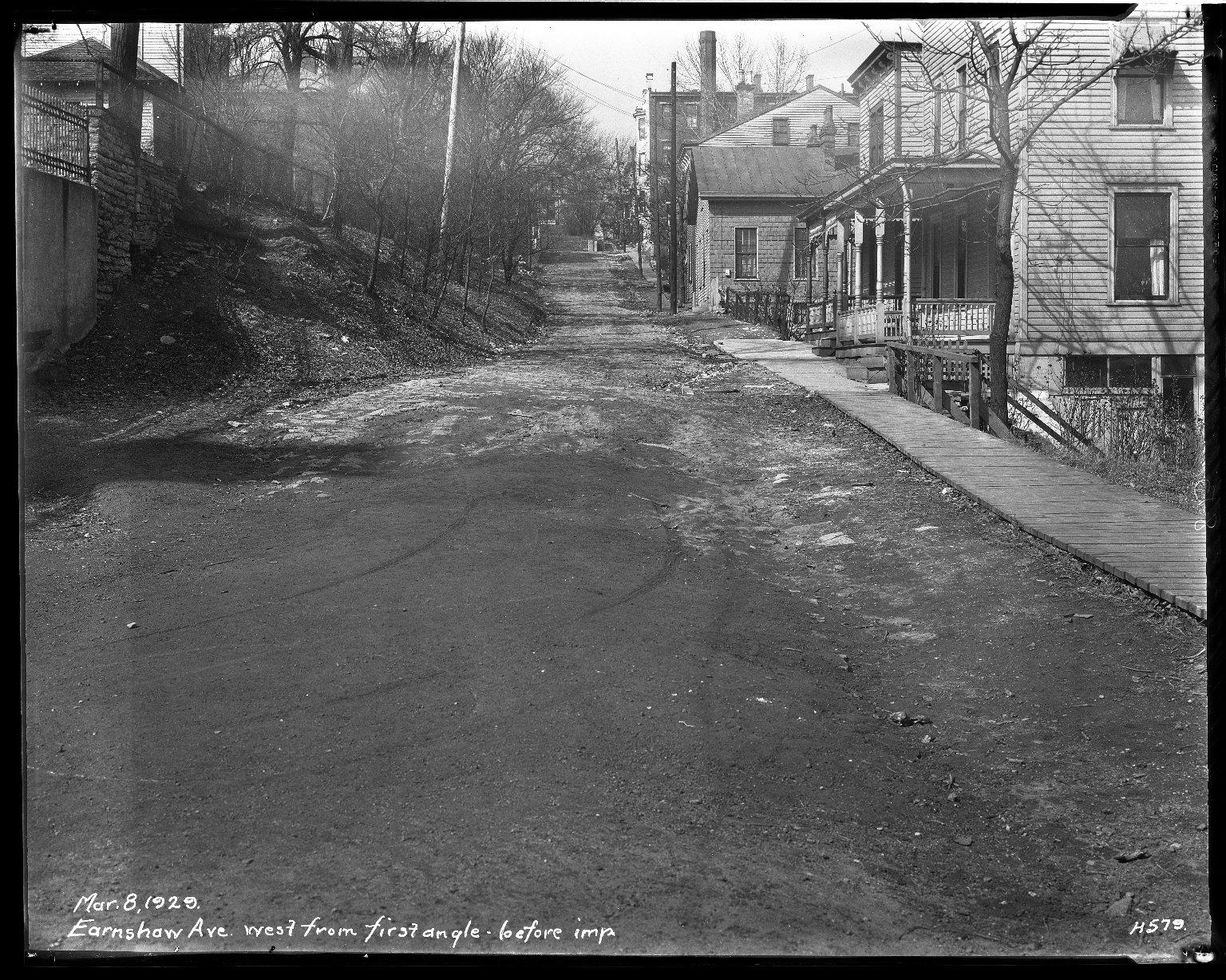 Street Improvement Photographs -- Box 34, Folder 15 (Earshaw Avenue) -- negative, 1929-02-26
