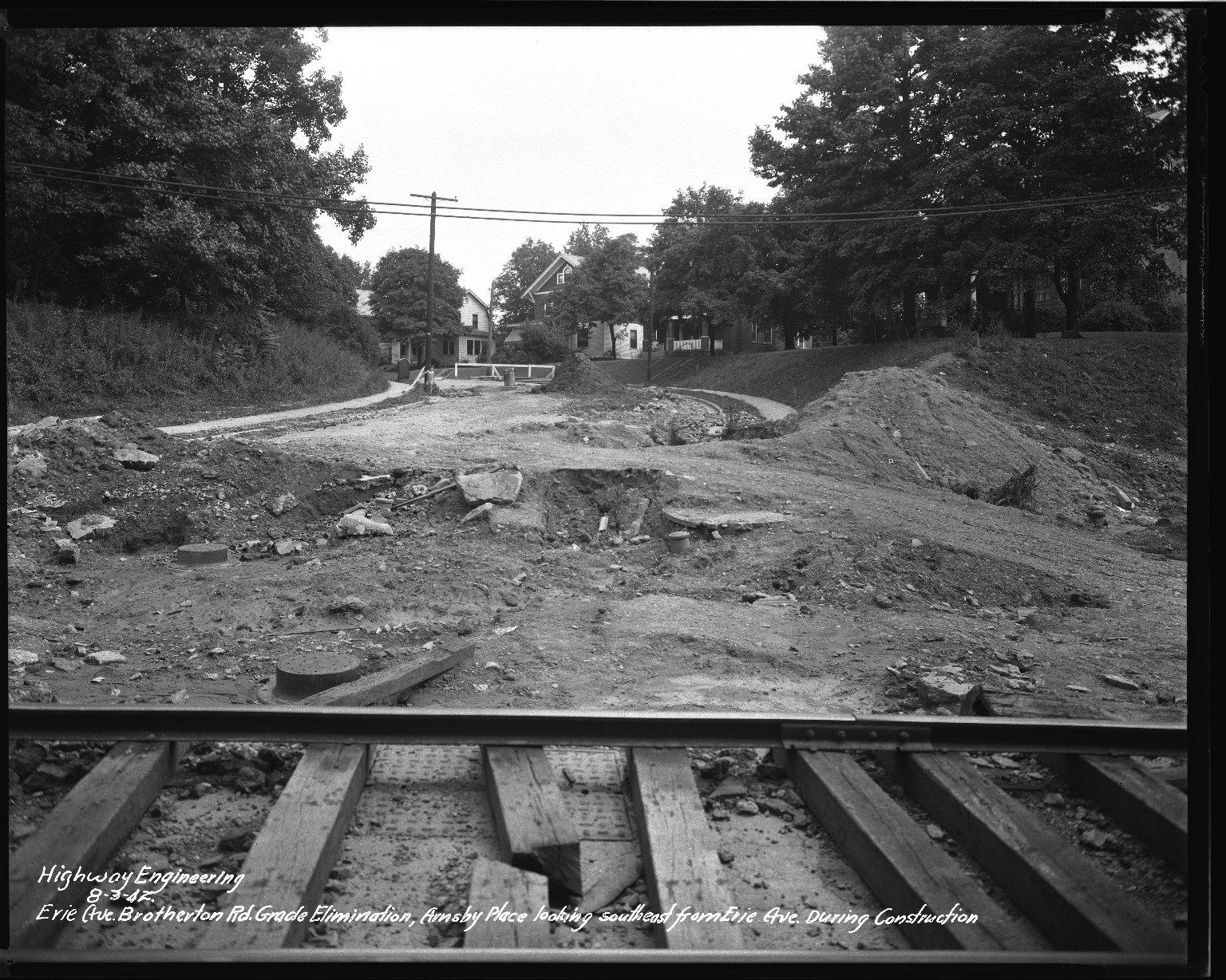 Street Improvement Photographs -- Box 34, Folder 52 (Erie Avenue) -- negative, 1942-08-03