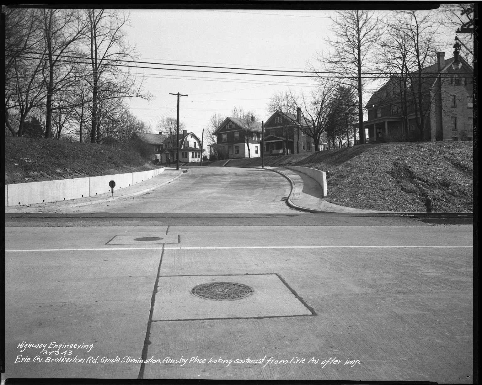 Street Improvement Photographs -- Box 34, Folder 55 (Erie Avenue) -- negative, 1943-03-23