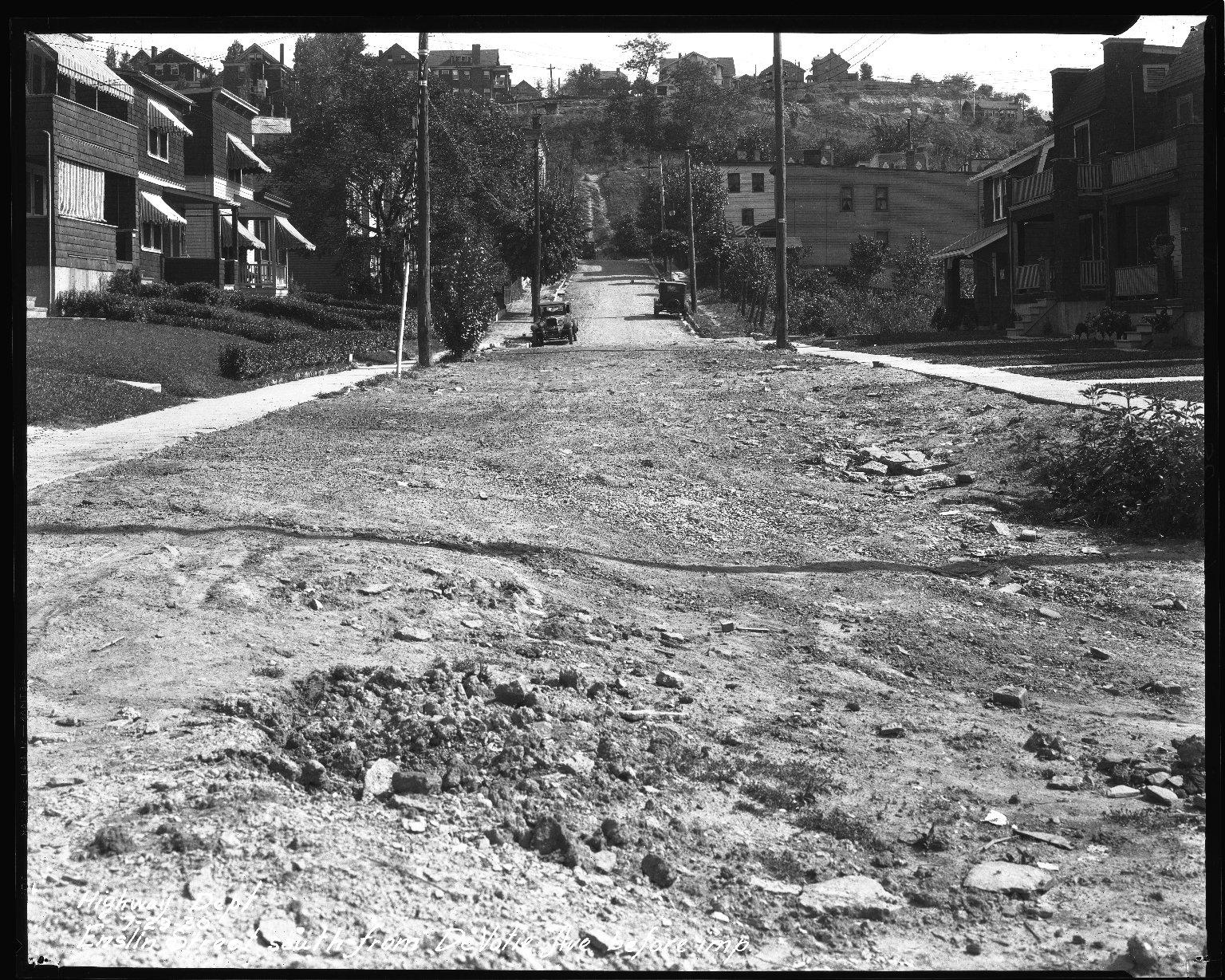 Street Improvement Photographs -- Box 35, Folder 08 (Enslin Street) -- negative, 1930-07-29