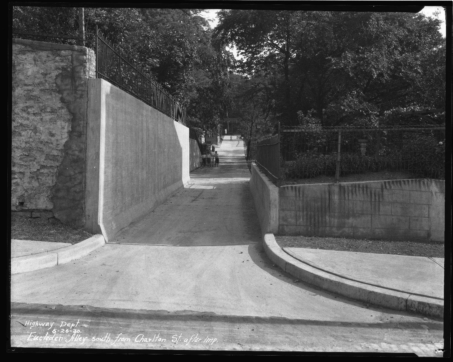 Street Improvement Photographs -- Box 35, Folder 11 (Eucleden Alley) -- negative, 1930-05-26