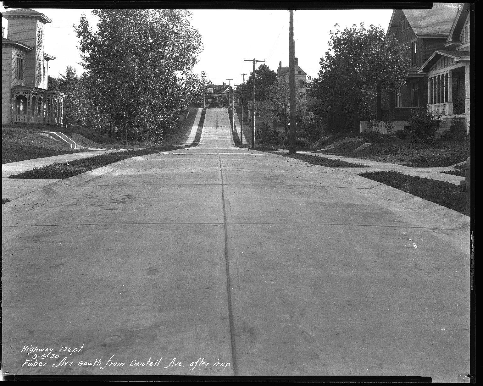 Street Improvement Photographs -- Box 35, Folder 14 (Faber Avenue) -- negative, 1930-09-19