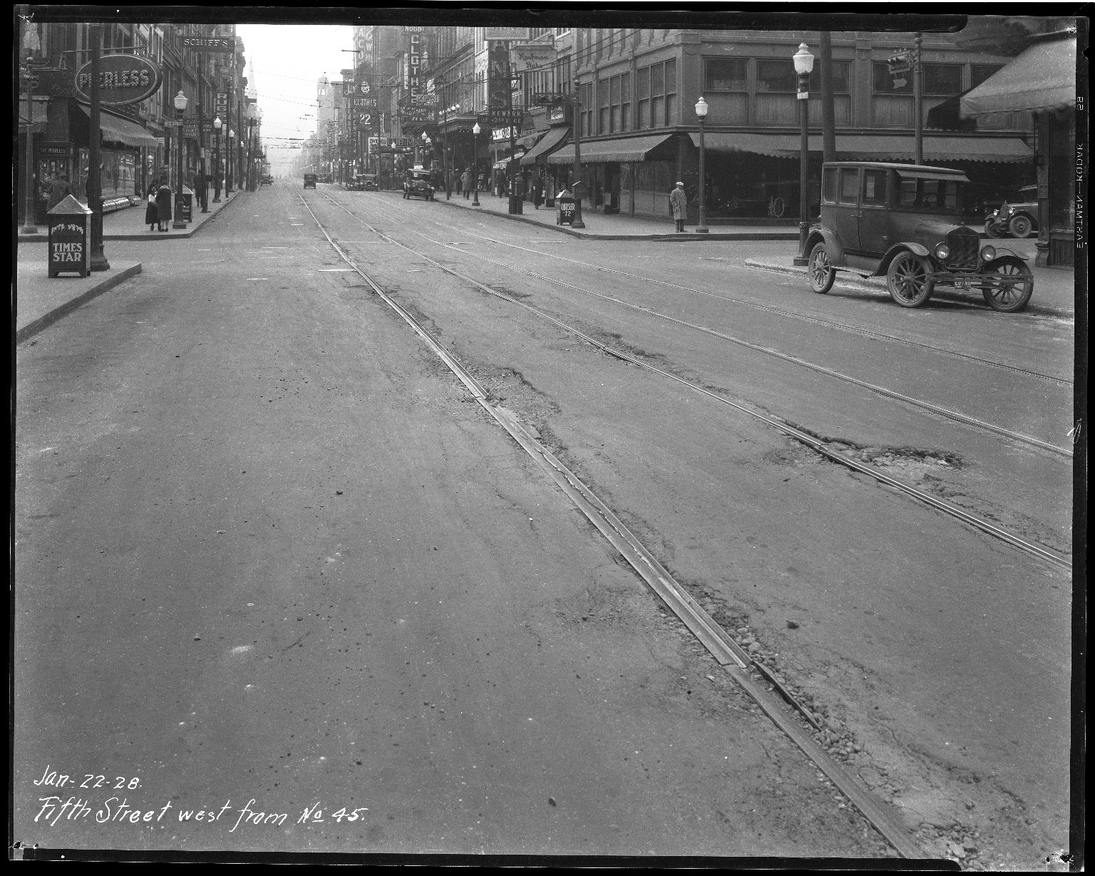 Street Improvement Photographs -- Box 35, Folder 27 (Fifth Street) -- negative, 1928-01-22