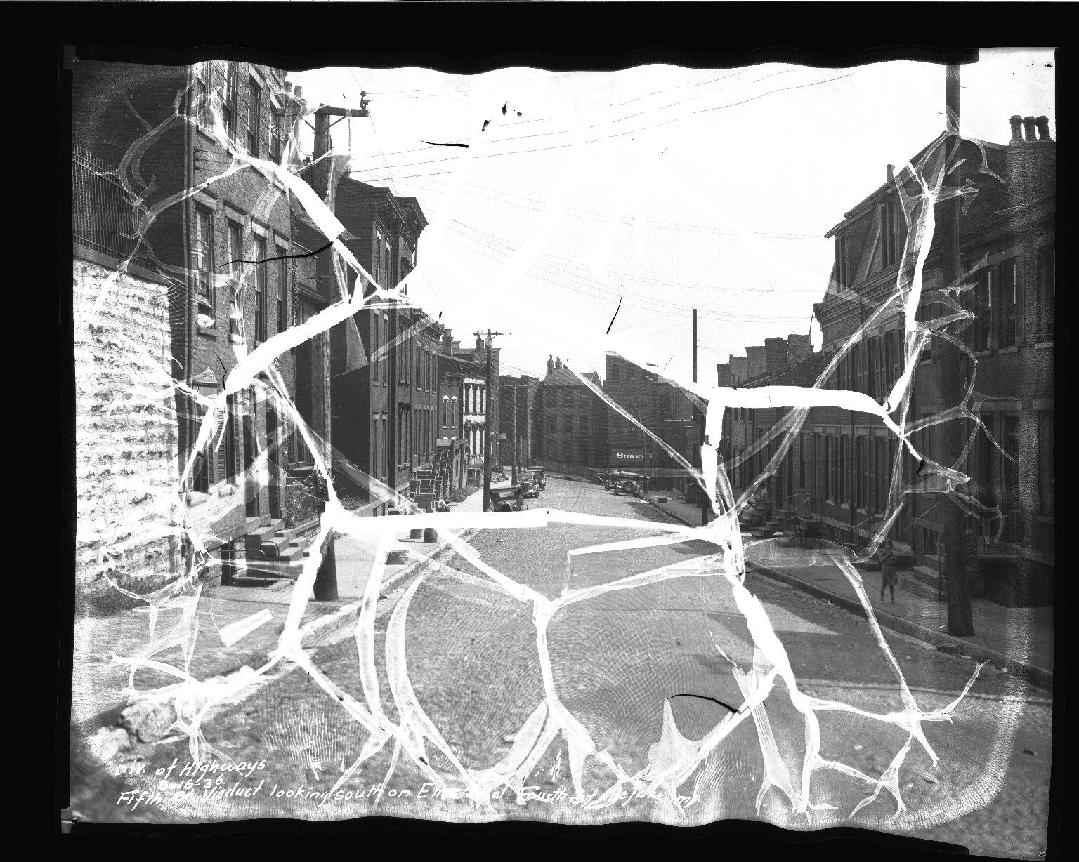 Street Improvement Photographs -- Box 35, Folder 32 (Fifth Street) -- negative, 1936-08-16