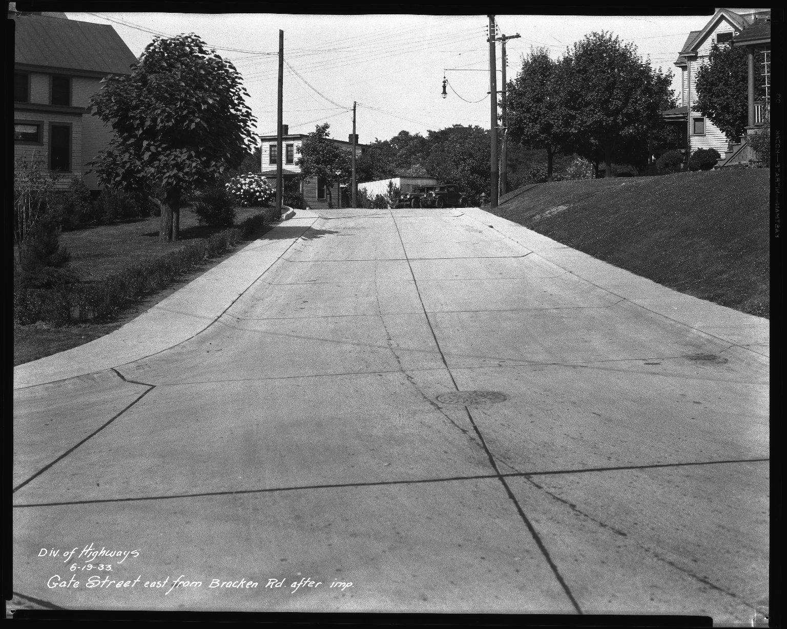 Street Improvement Photographs -- Box 35, Folder 61 (Gate Street) -- negative, 1933-06-19