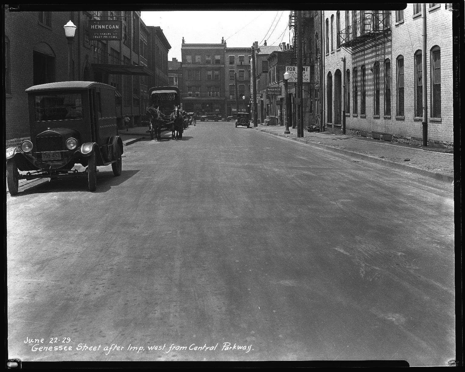 Street Improvement Photographs -- Box 36, Folder 02 (Genessee Street) -- negative, 1929-06-22