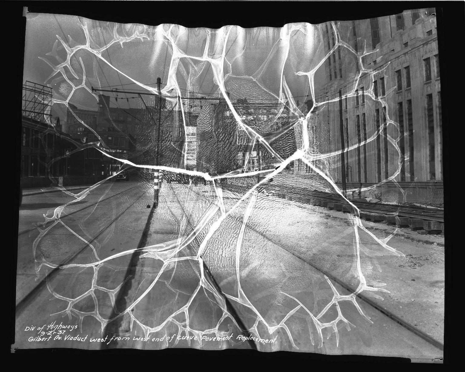 Street Improvement Photographs -- Box 36, Folder 05 (Gilbert Avenue) -- negative, 1937-09-21