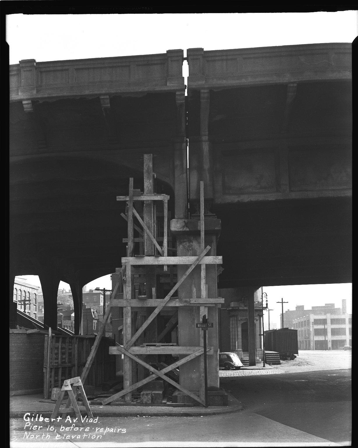 Street Improvement Photographs -- Box 36, Folder 10 (Gilbert Avenue Viaduct) -- negative, 1944-10-17