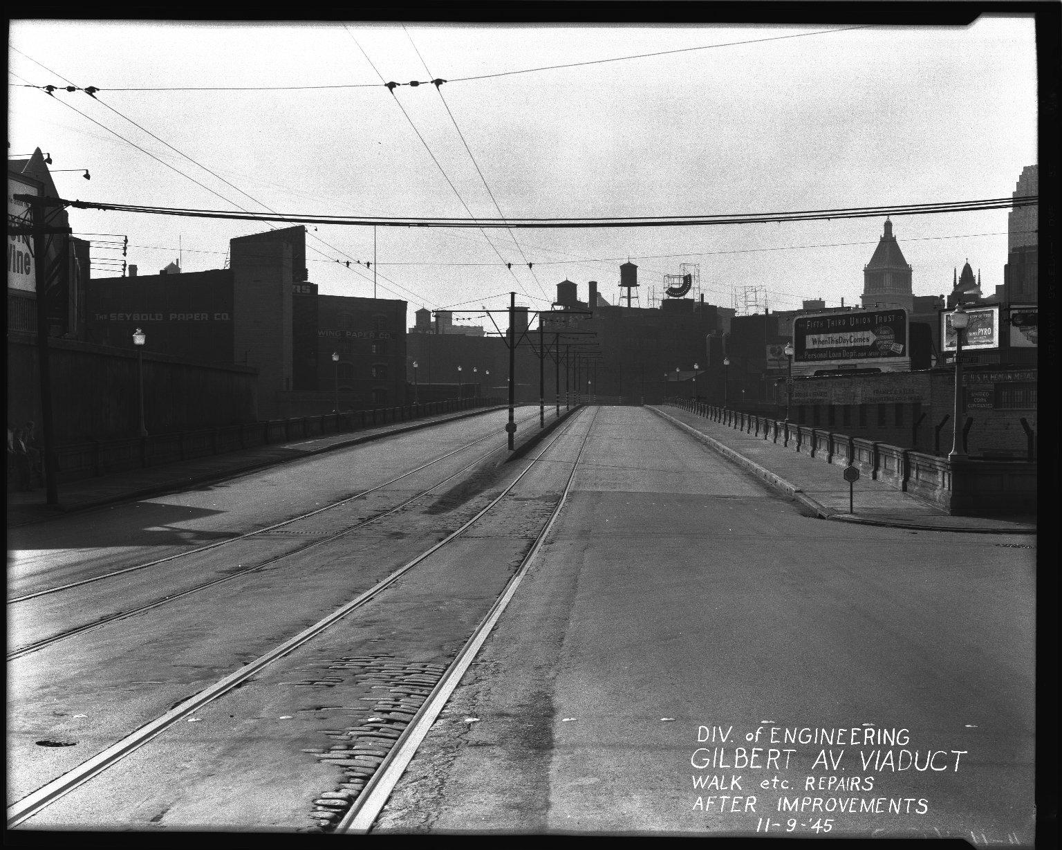 Street Improvement Photographs -- Box 36, Folder 10 (Gilbert Avenue Viaduct) -- negative, 1945-11-09
