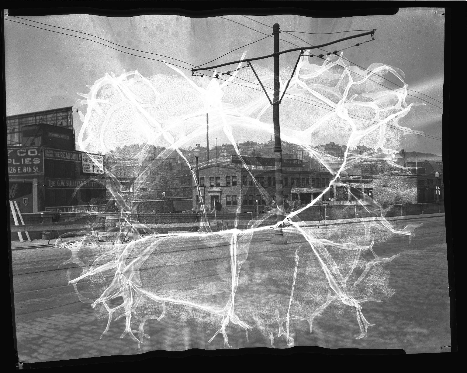 Street Improvement Photographs -- Box 36, Folder 10 (Gilbert Avenue Viaduct) -- negative, 1945