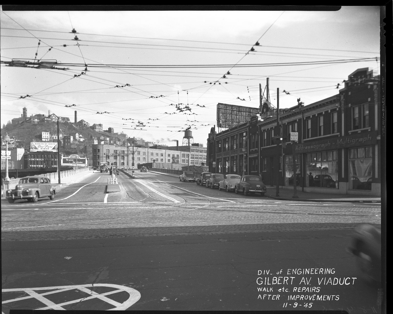 Street Improvement Photographs -- Box 36, Folder 11 (Gilbert Avenue Viaduct) -- negative, 1945-11-09