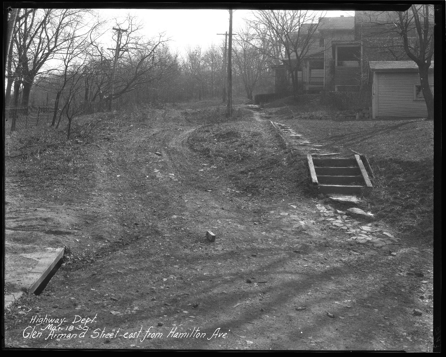 Street Improvement Photographs -- Box 36, Folder 14 (Glen Armand Street) -- negative, 1930-03-18